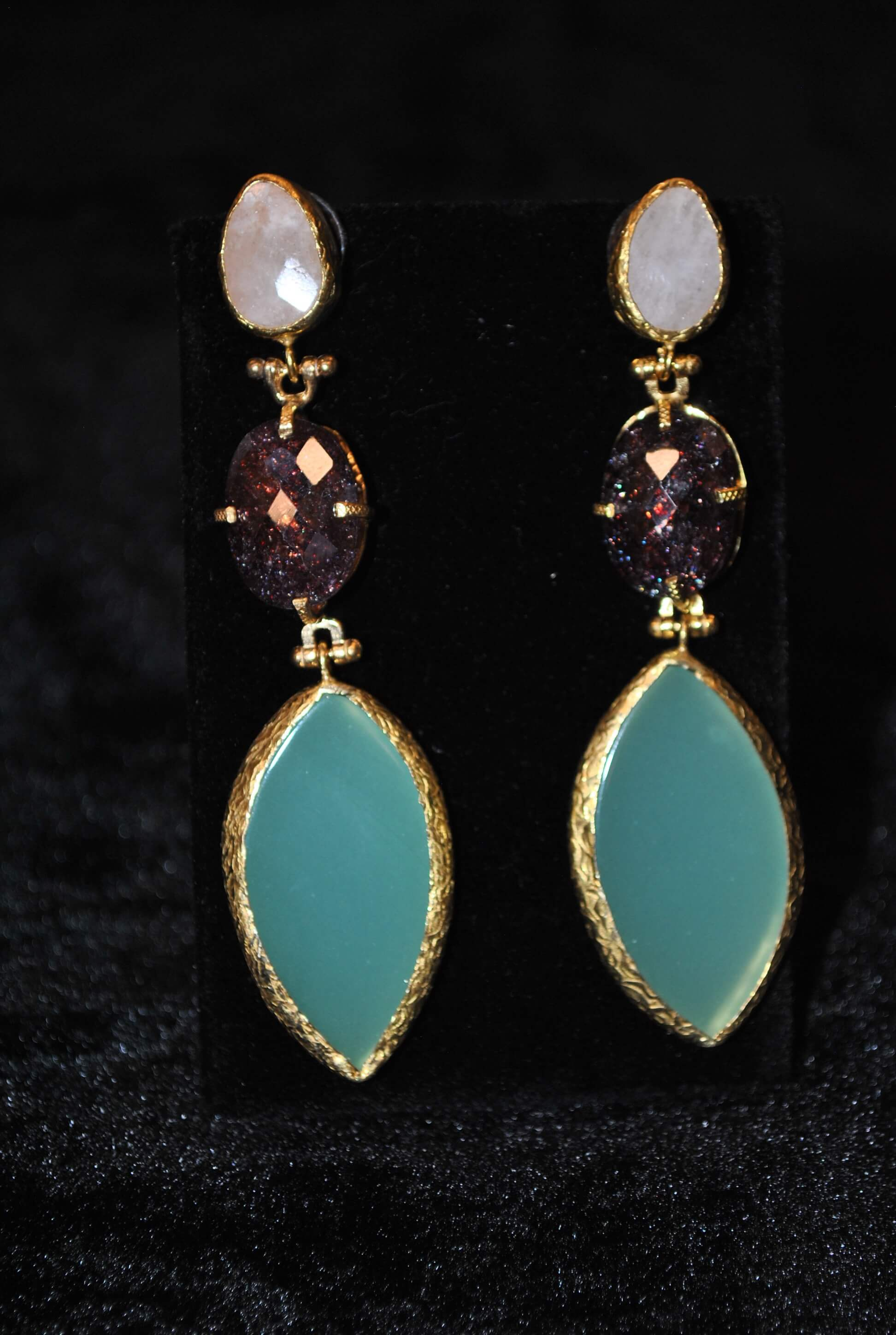 White, Turquoise and Purple Long Earrings