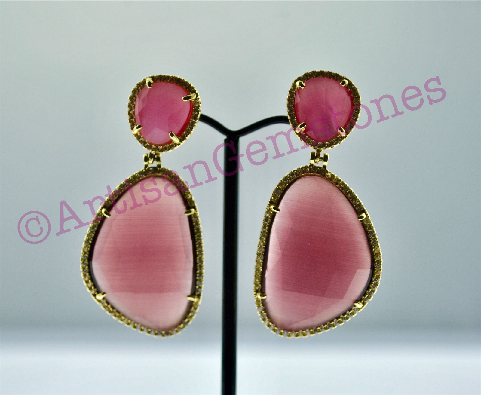 Pink Two Tier Earrings