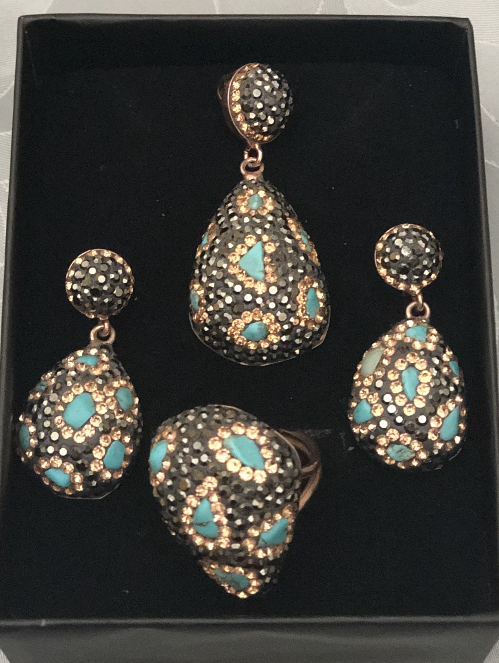 Turquoise 3 Piece Set in 22k Gold vermeil set in 925 Silver