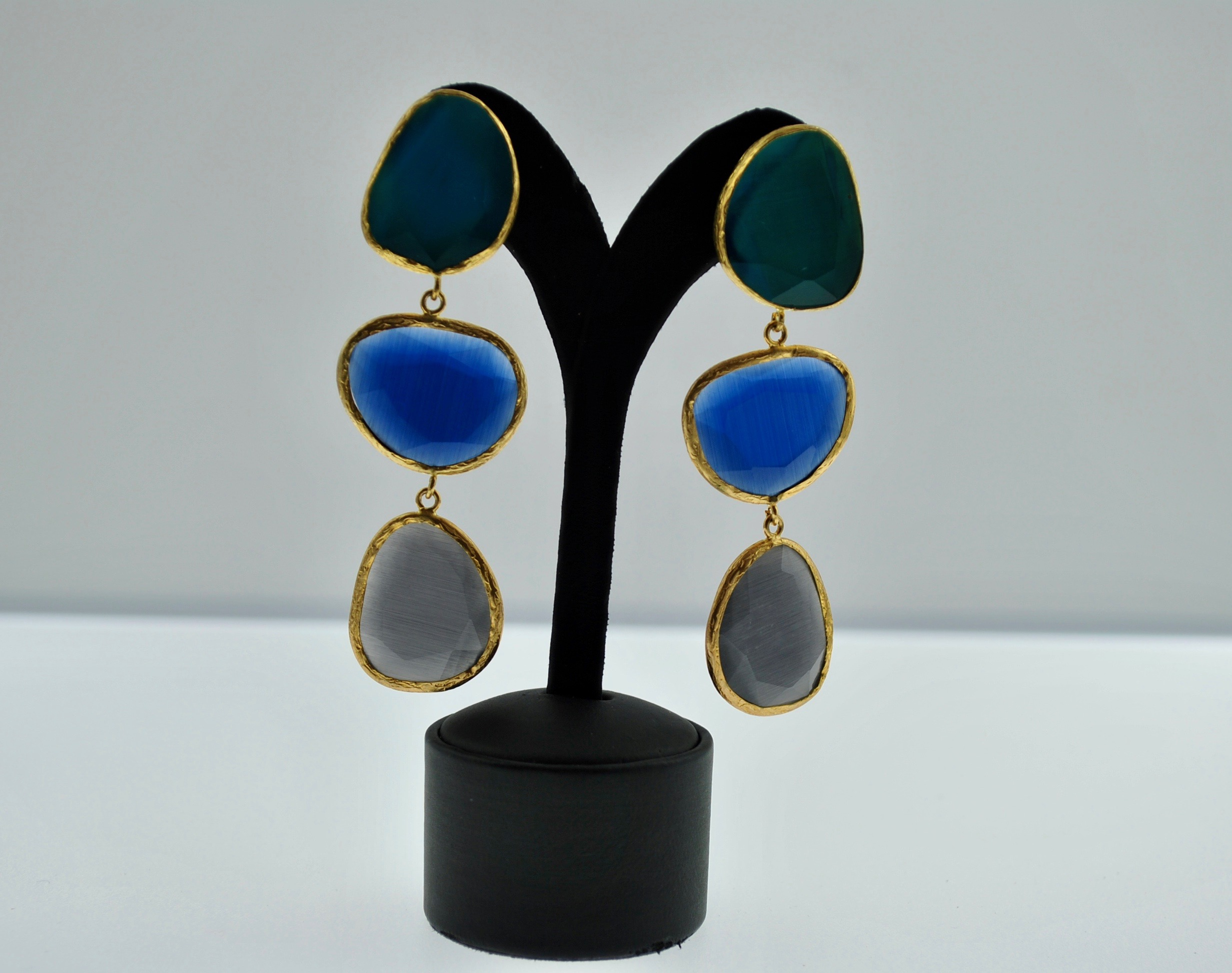 Teal, Blue and Grey Earrings