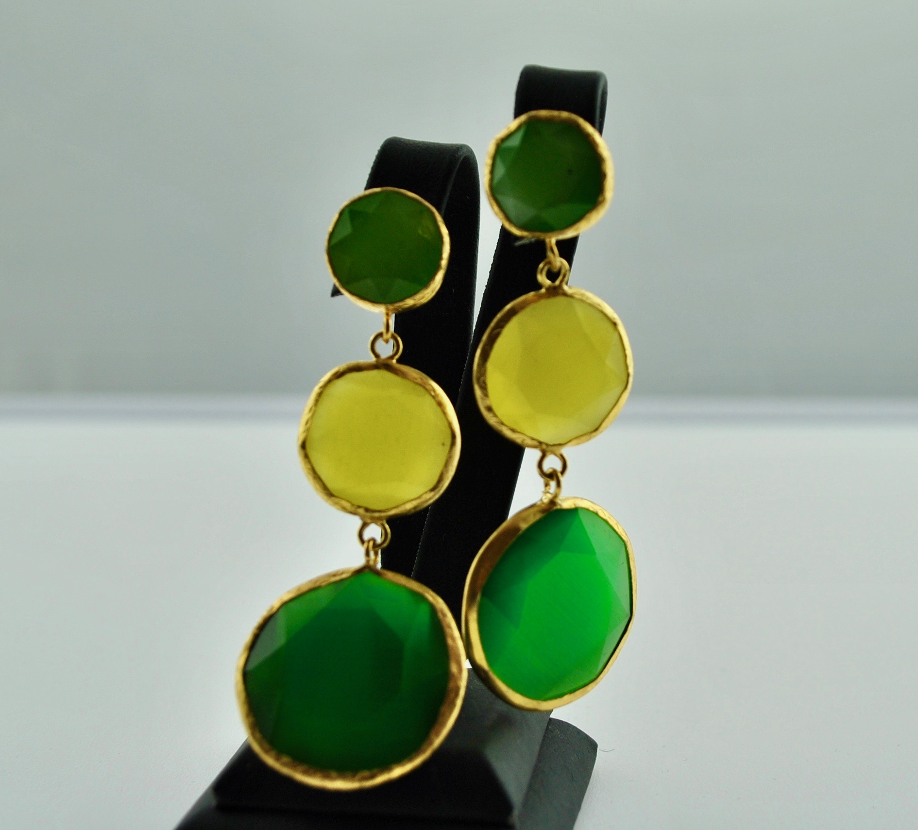 Green and yellow 3 Tier Earrings
