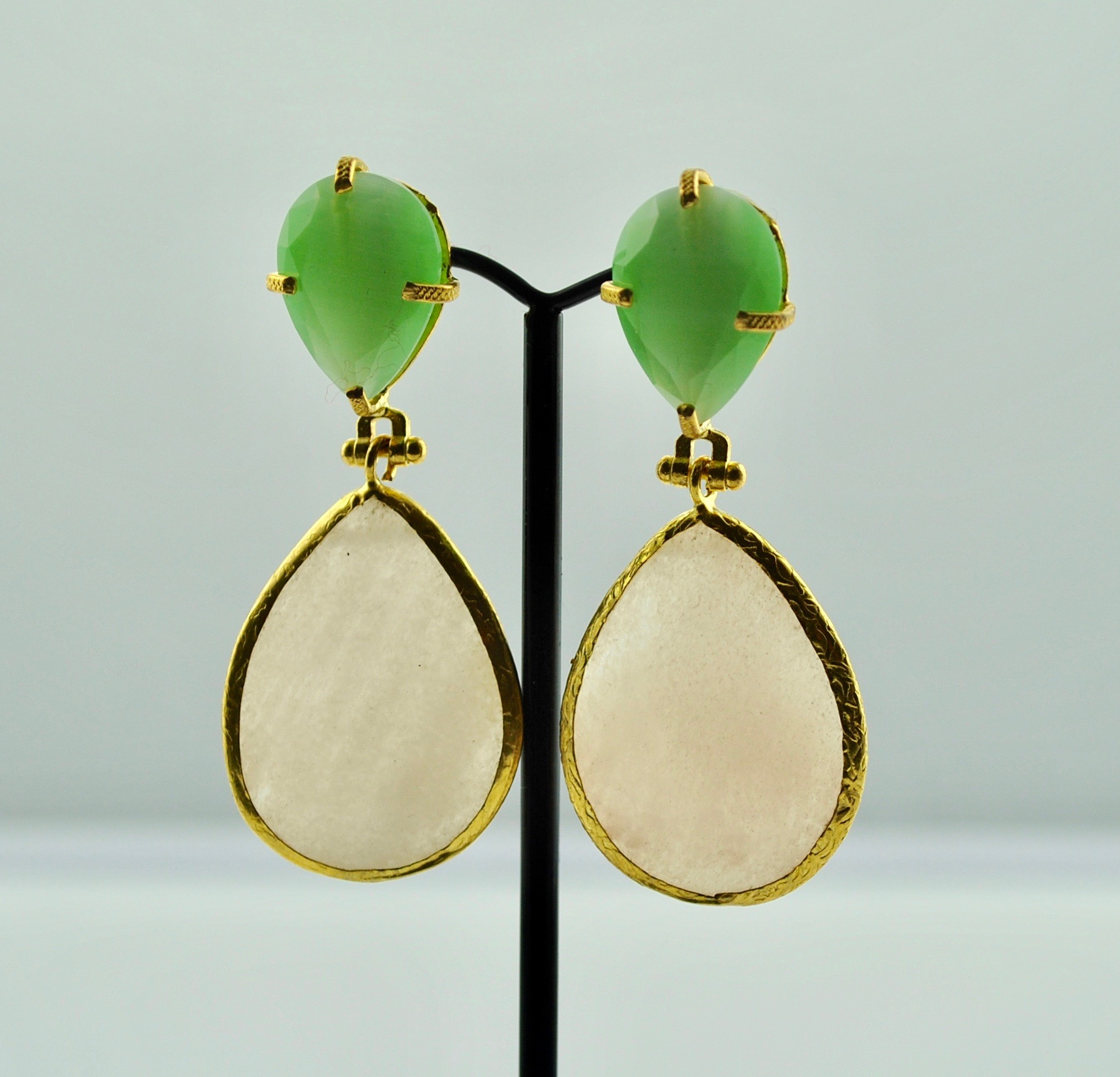 Pearl and Lime Green Earrings