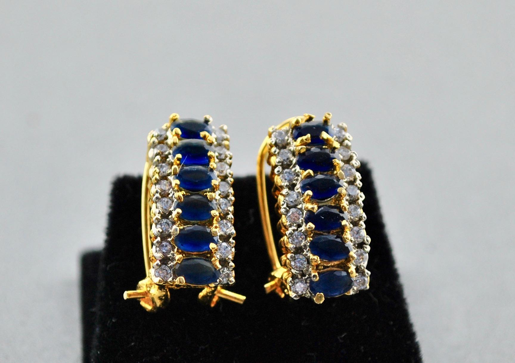 Navy and Zircon Earrings