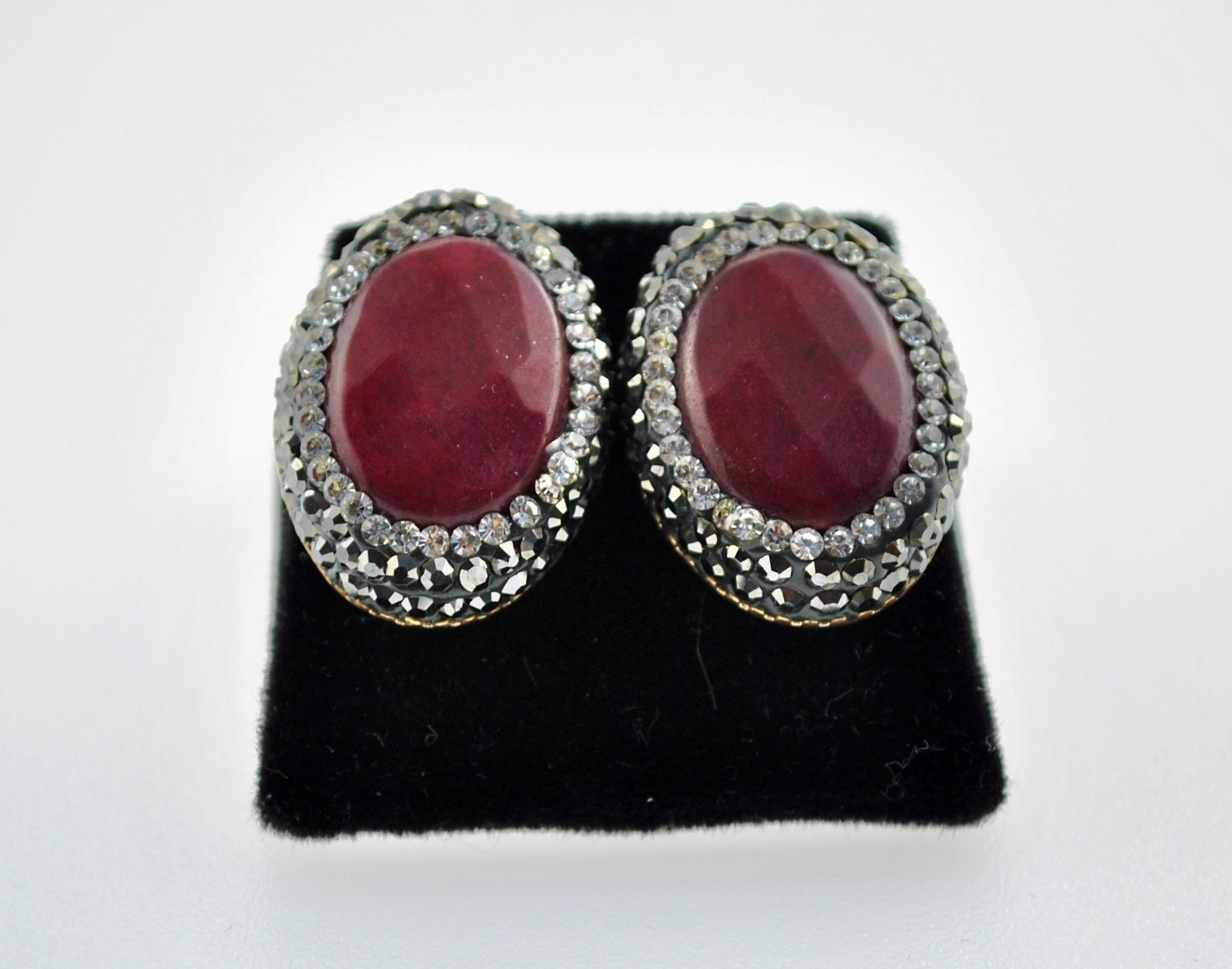 Maroon Oval Earrings