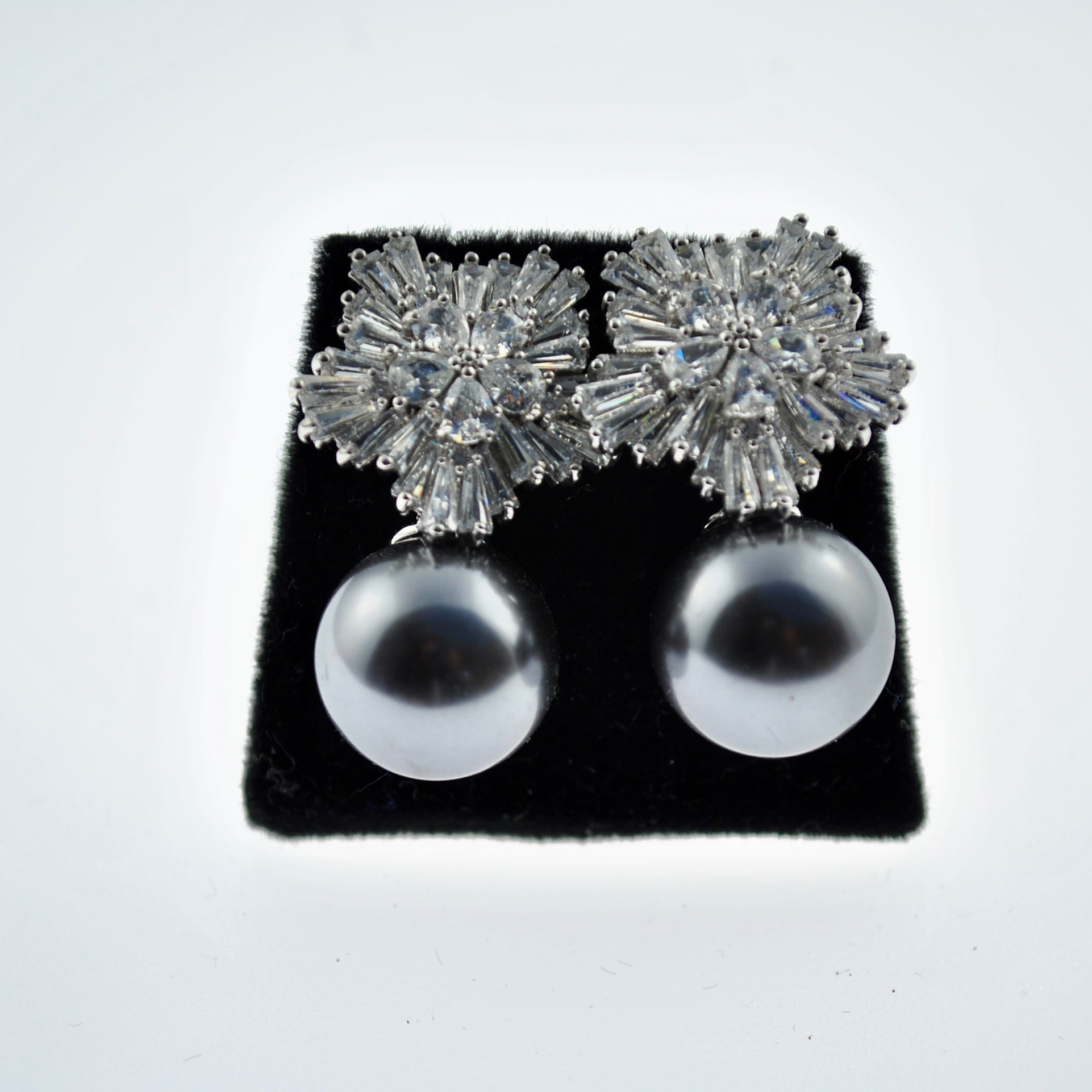 Grey Pearl and Zirconia Earrings