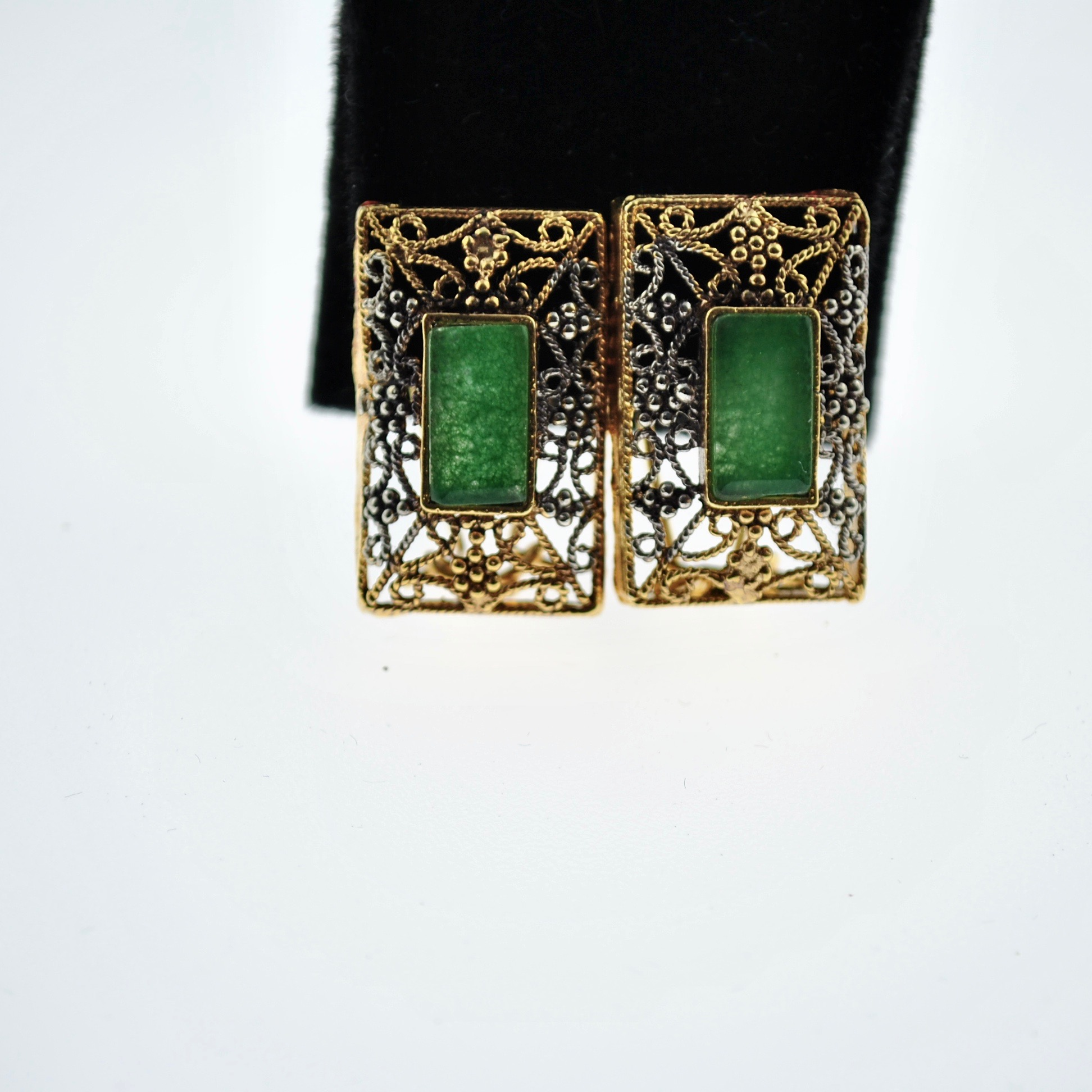 Green and Gold Rectangle Earrings