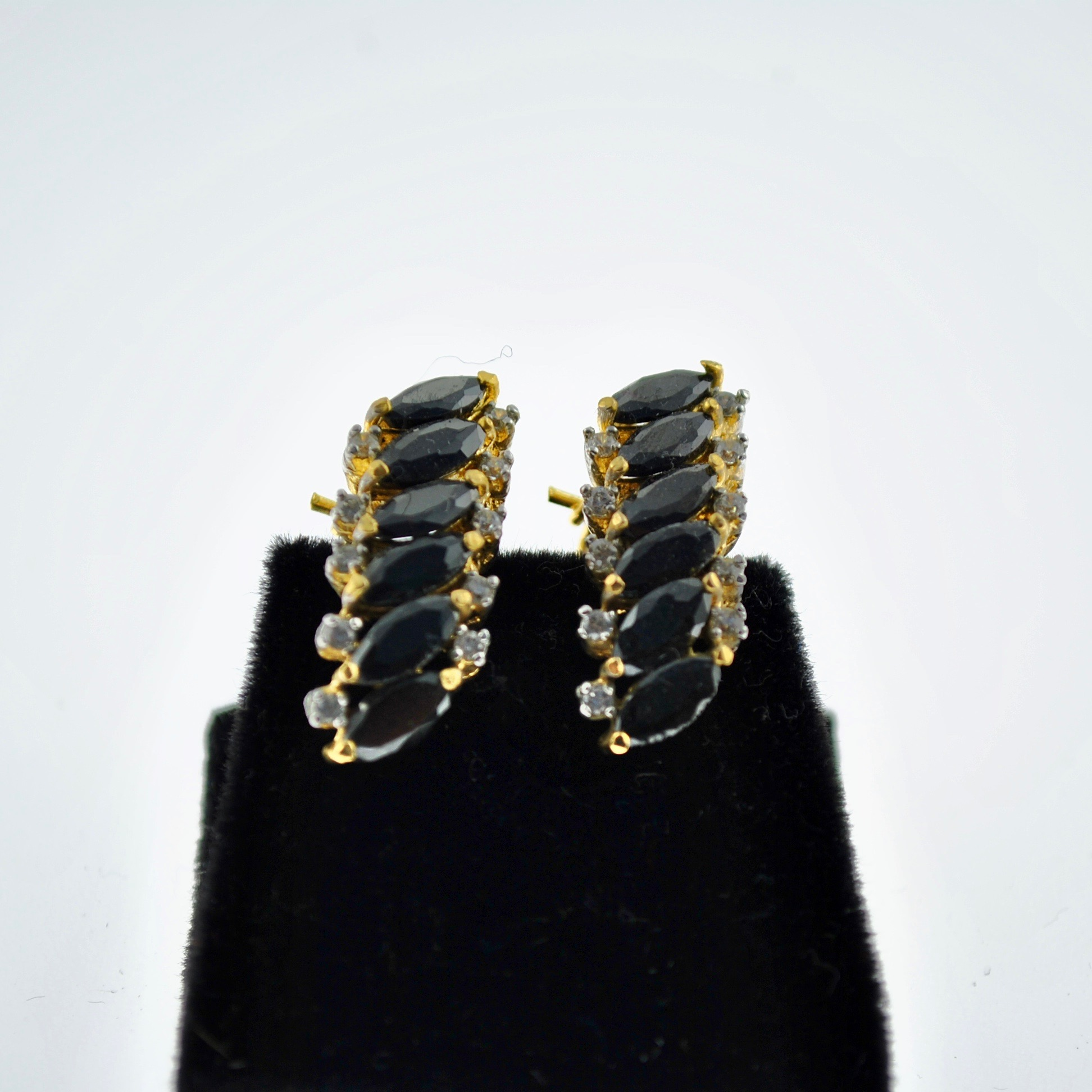 Navy and Zirconia Marquee Earrings