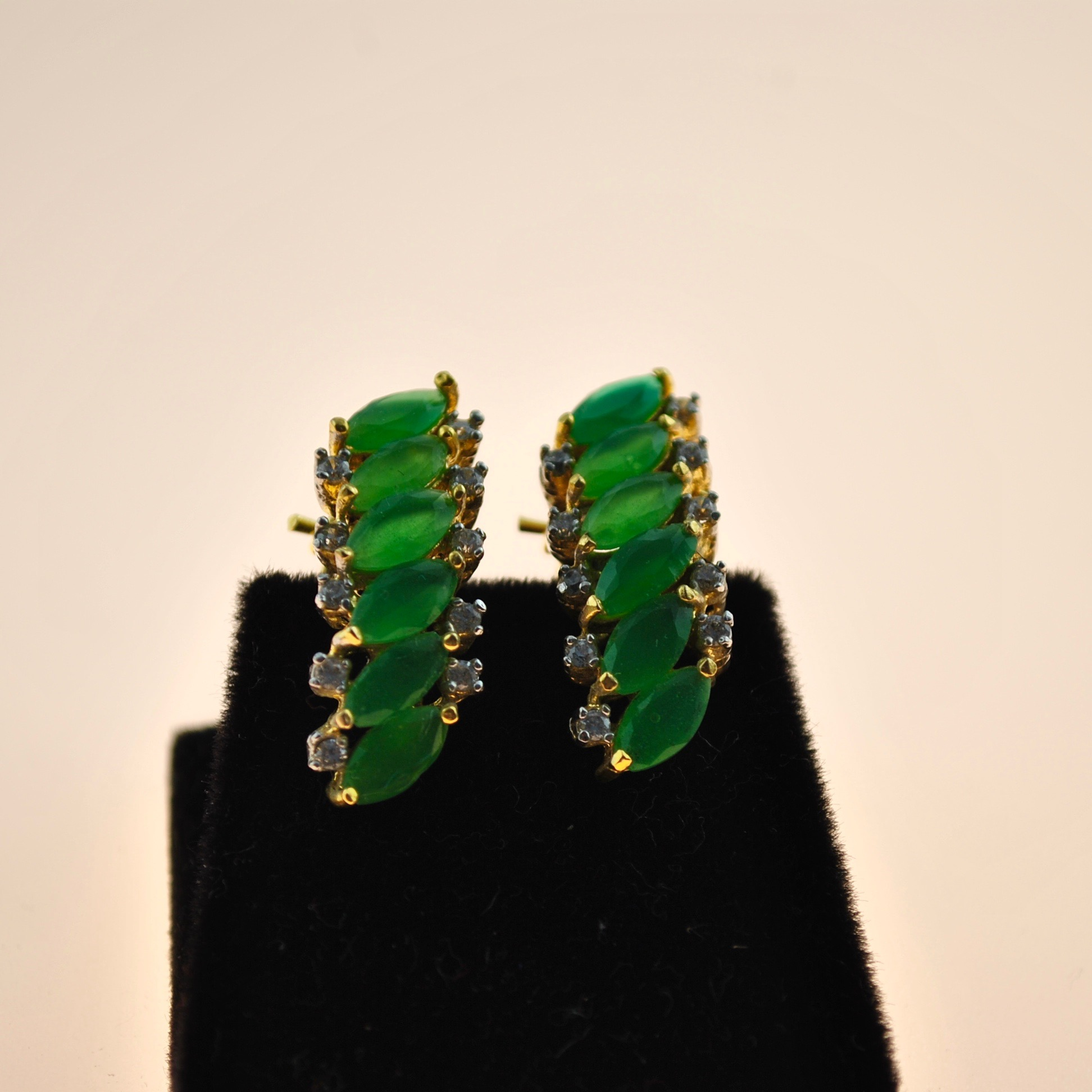 Green and Zirconia Marquee Earrings