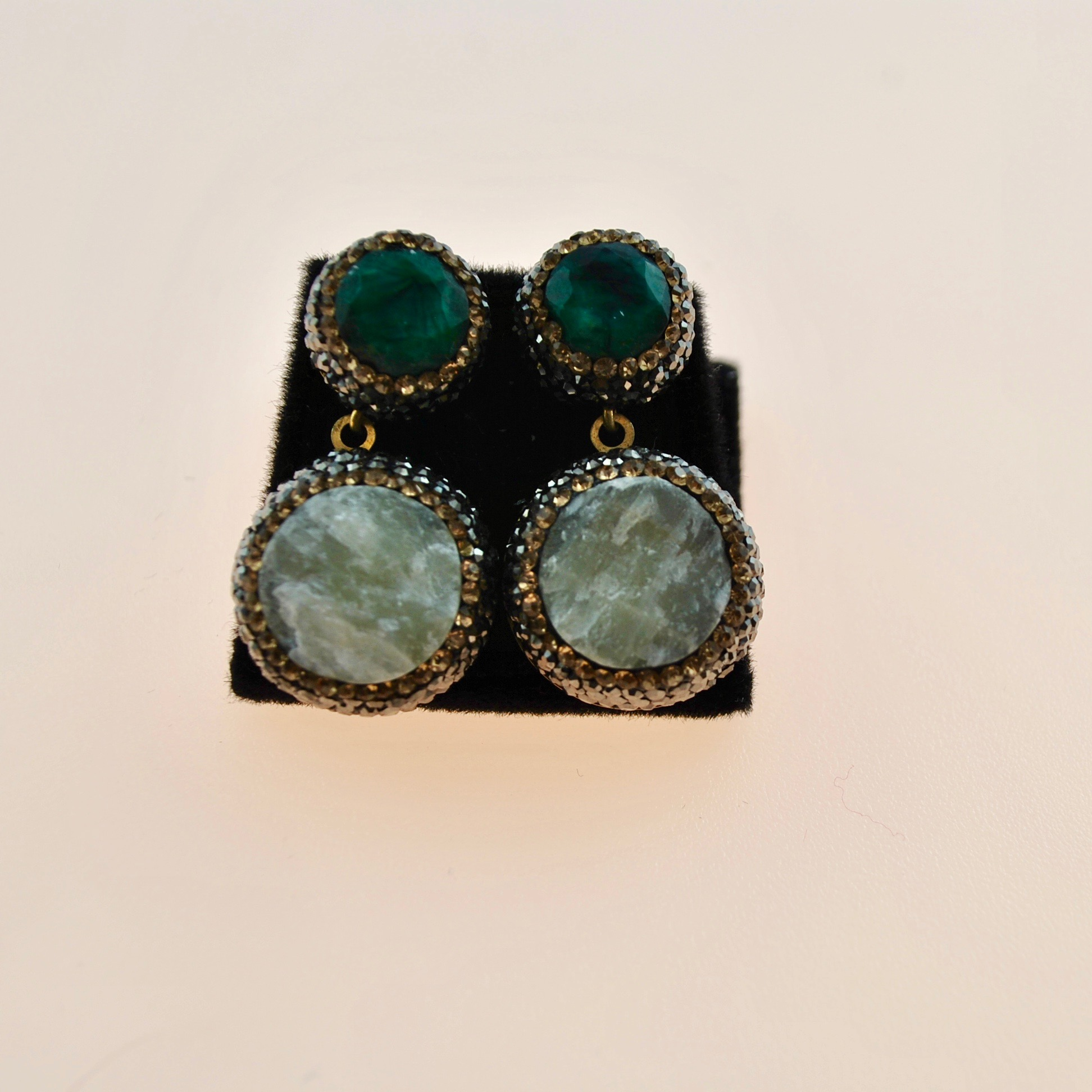 Green and Ivory Druzy Earrings