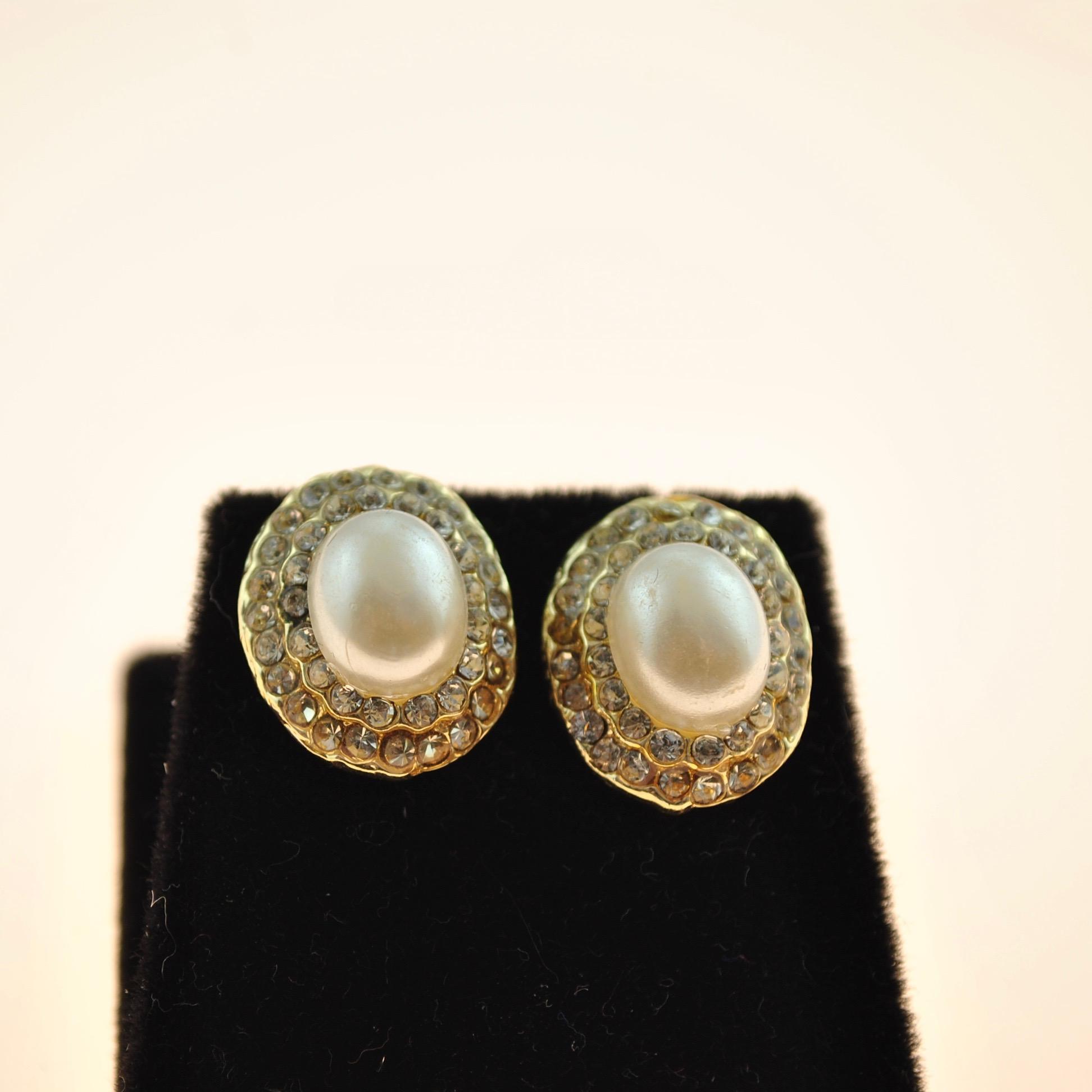 Pearl and Zircon Earrings