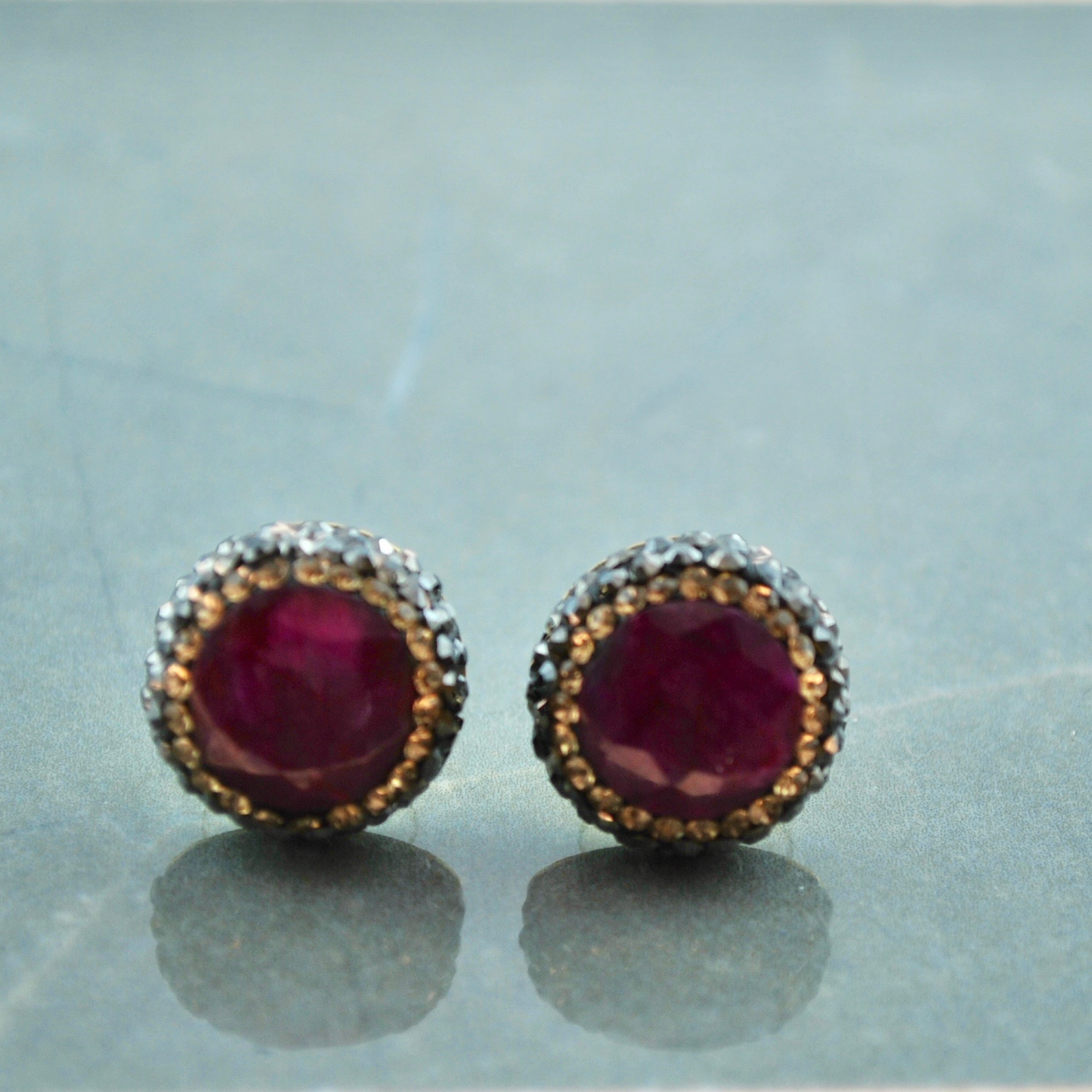 Dark Red and Gold Studs