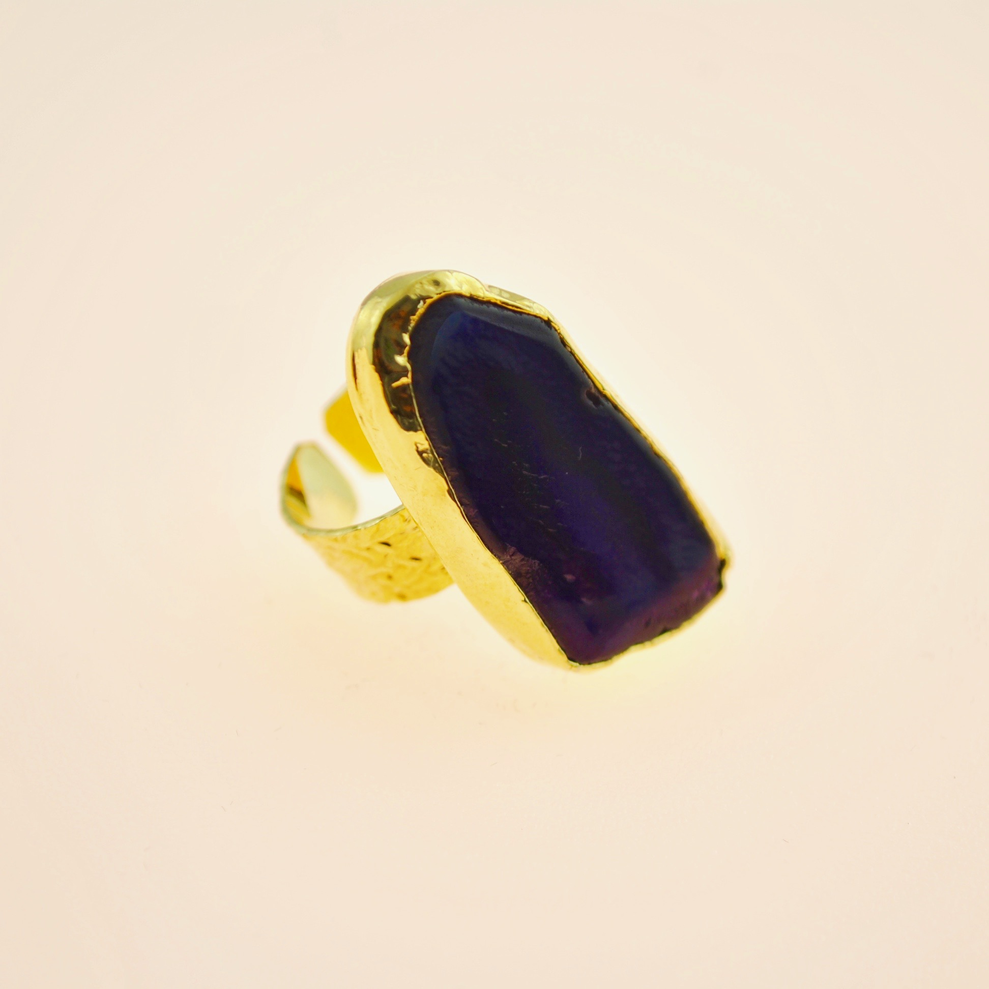 Purple Agate 22k Gold vermeil ring in adjustable size