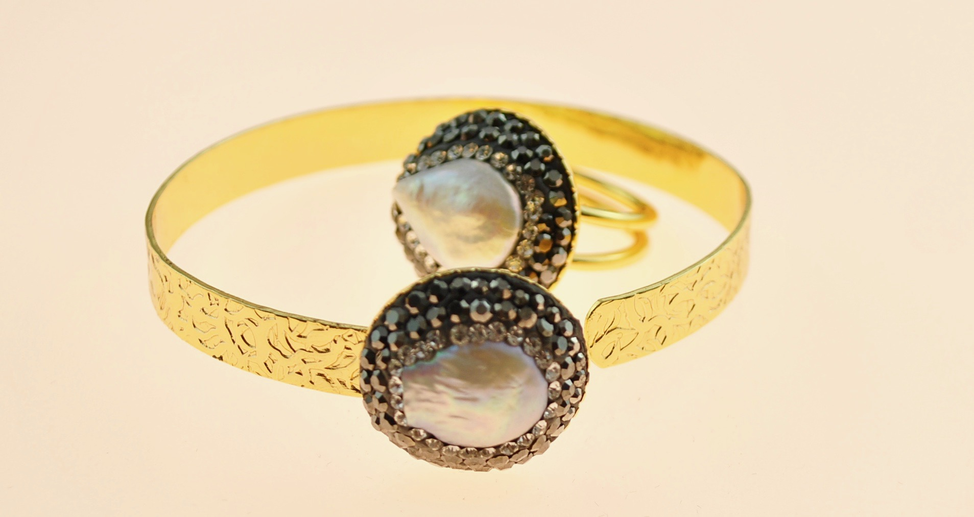 22k Gold vermeil adjustable bangle and ring with mother of pearl