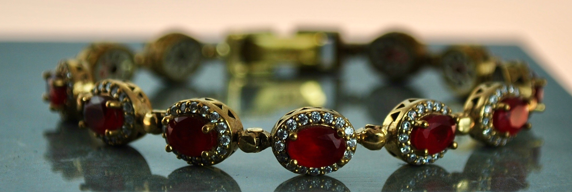 925 Silver 22k Gold vermeil bracelet in Red