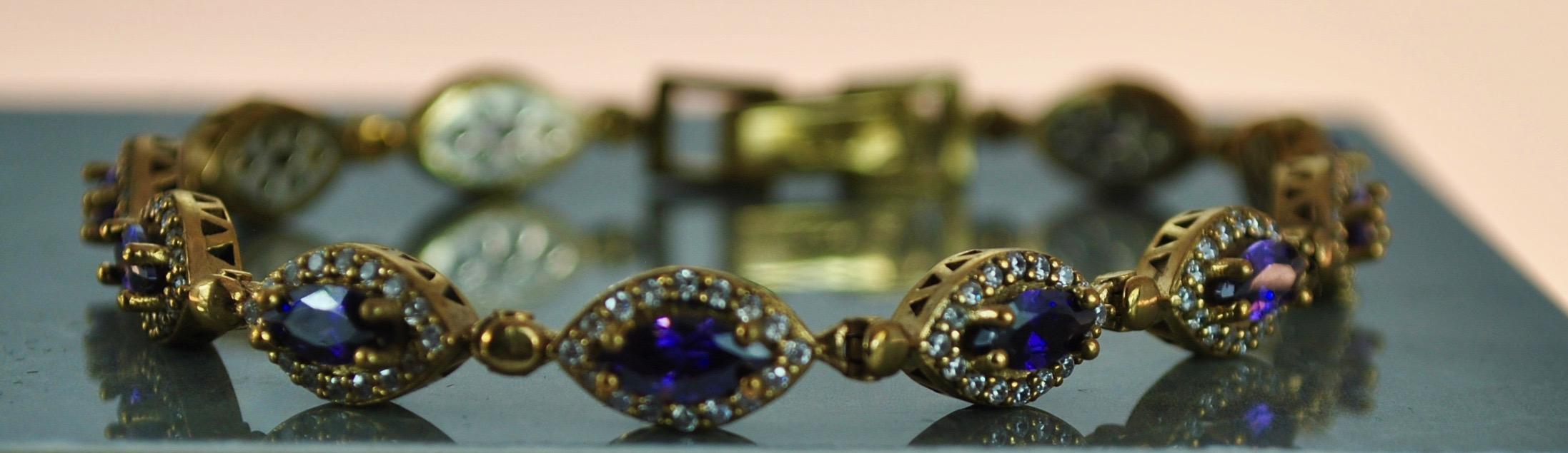 925 Silver 22k Gold vermeil bracelet in Amethyst