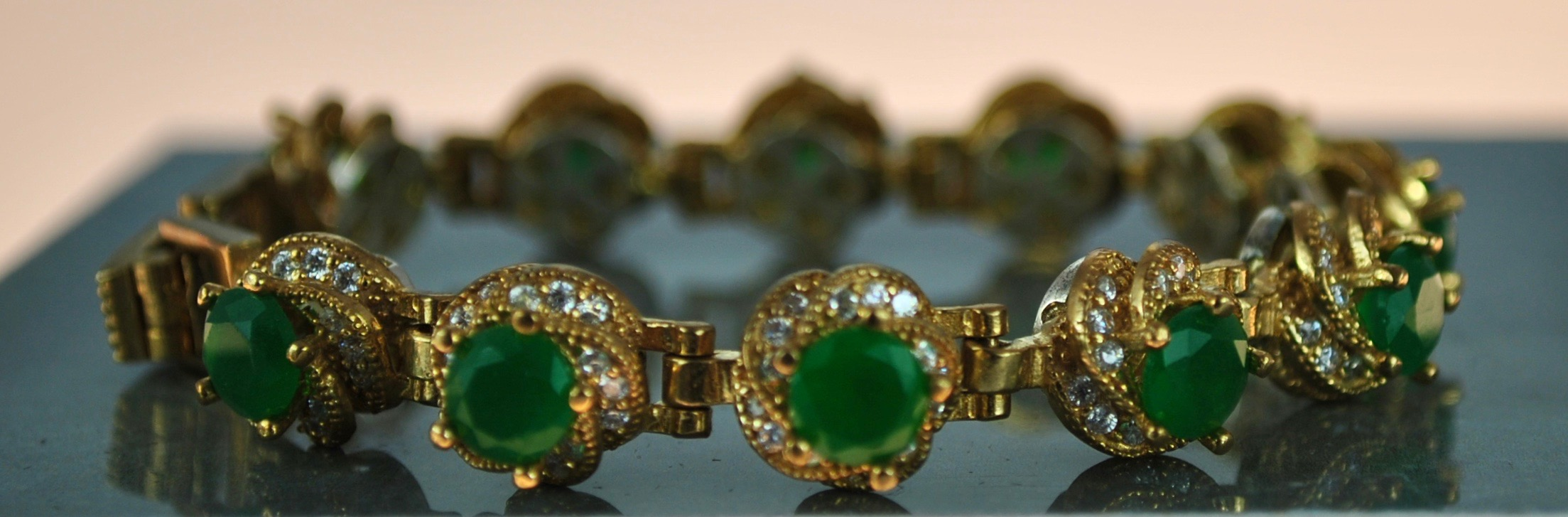 925 Silver 22k Gold vermeil bracelet in Green