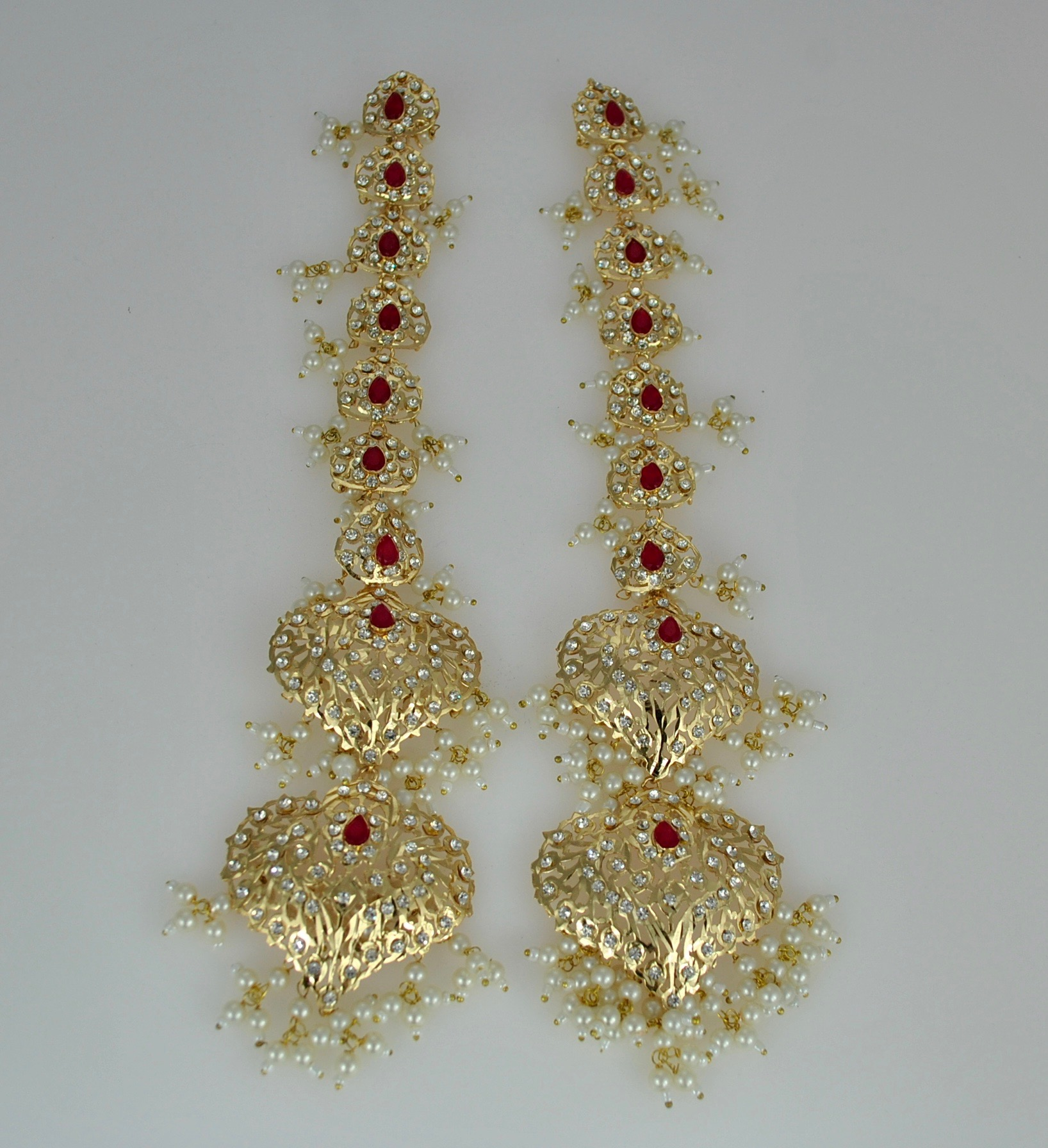 Oversized extra long earrings in red and gold with 22k Gold vermeil