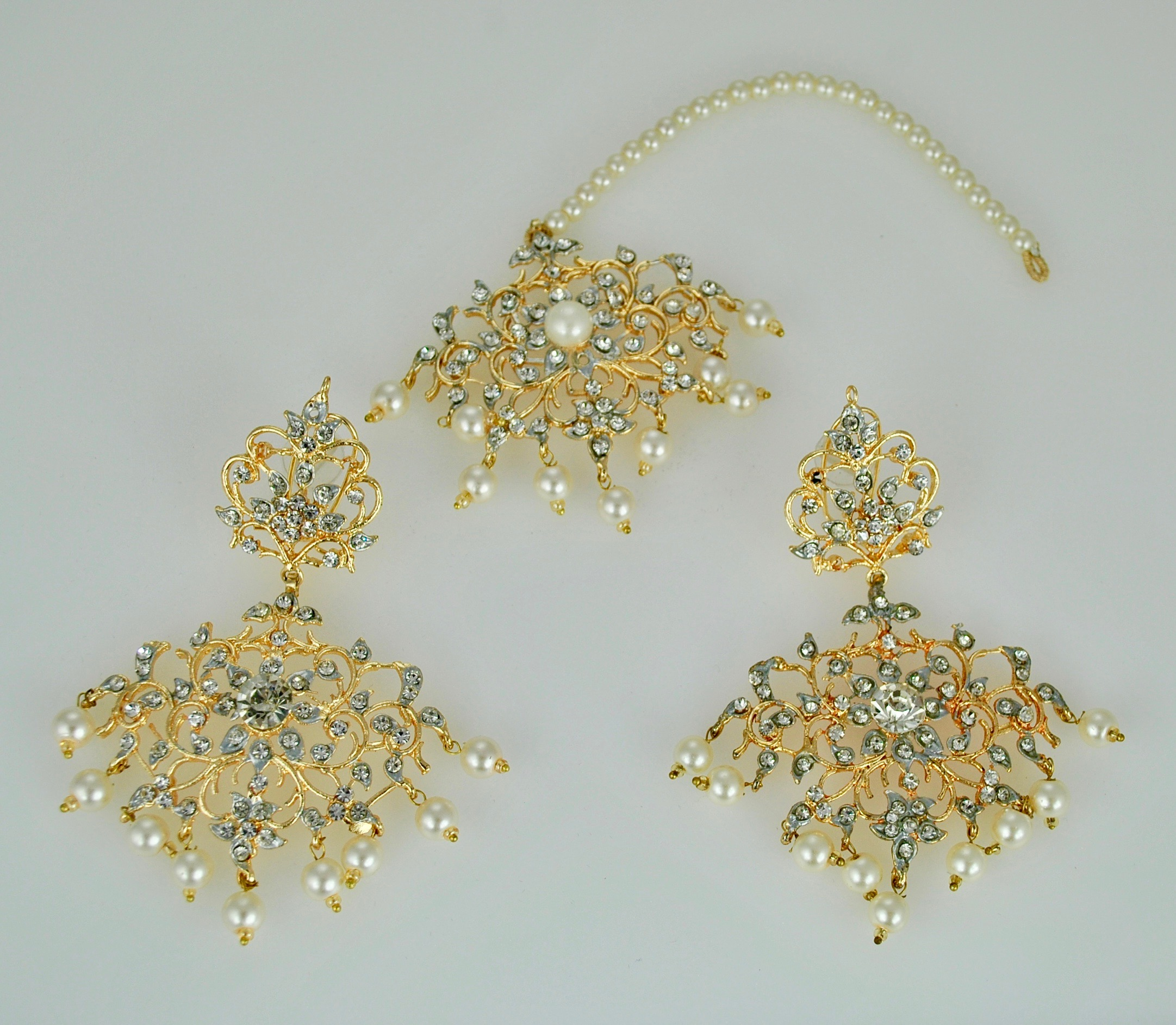 Silver and Gold earrings and tikka set in 22k gold vermeil
