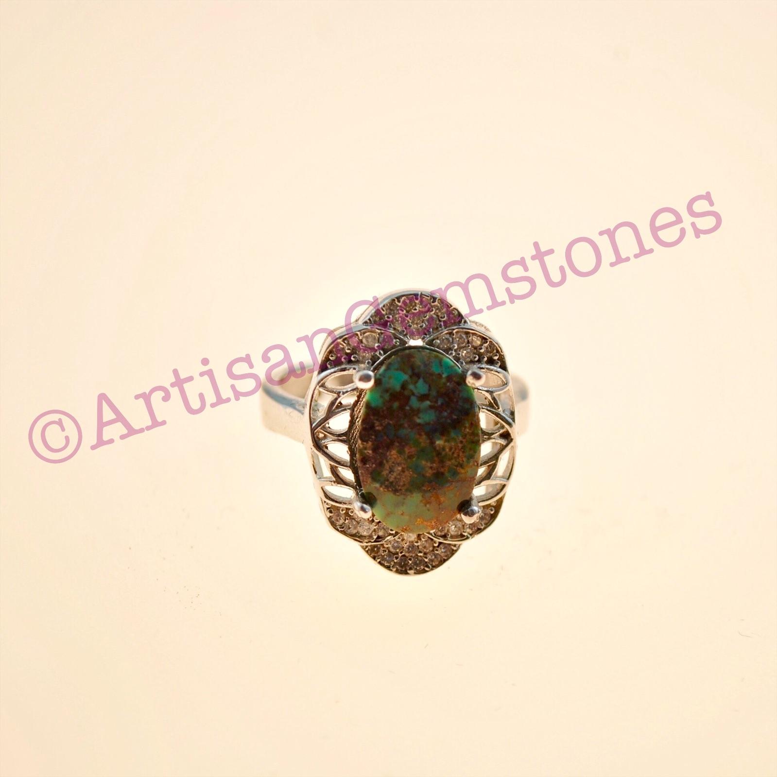 Iranian Turquoise/Feroza silver ring size 16 or P