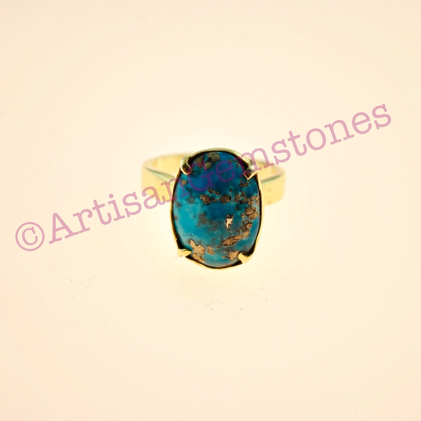 Oval, Turquoise/Ferzoza Iranian 925 silver 22k Gold plated adjustable ring