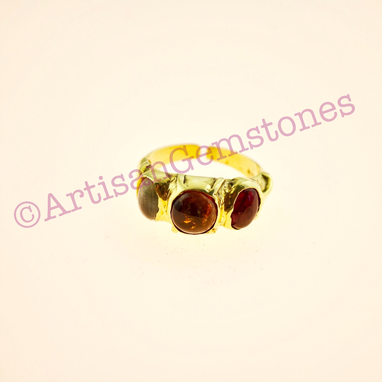 Triple Tourmaline ring in 925 silver 22k Gold vermeil in adjustable size