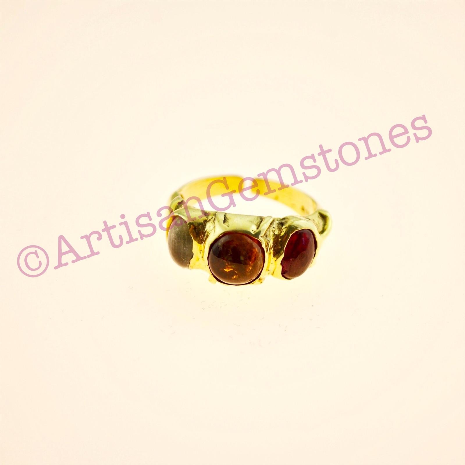 Triple Tourmaline ring in 925 silver 22k Gold vermeil in adjustable size