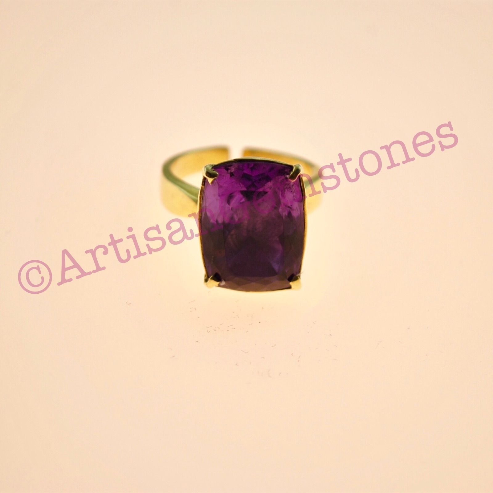 Rectangle Amethyst ring in 925 Silver 22k Gold vermeil in adjustable size