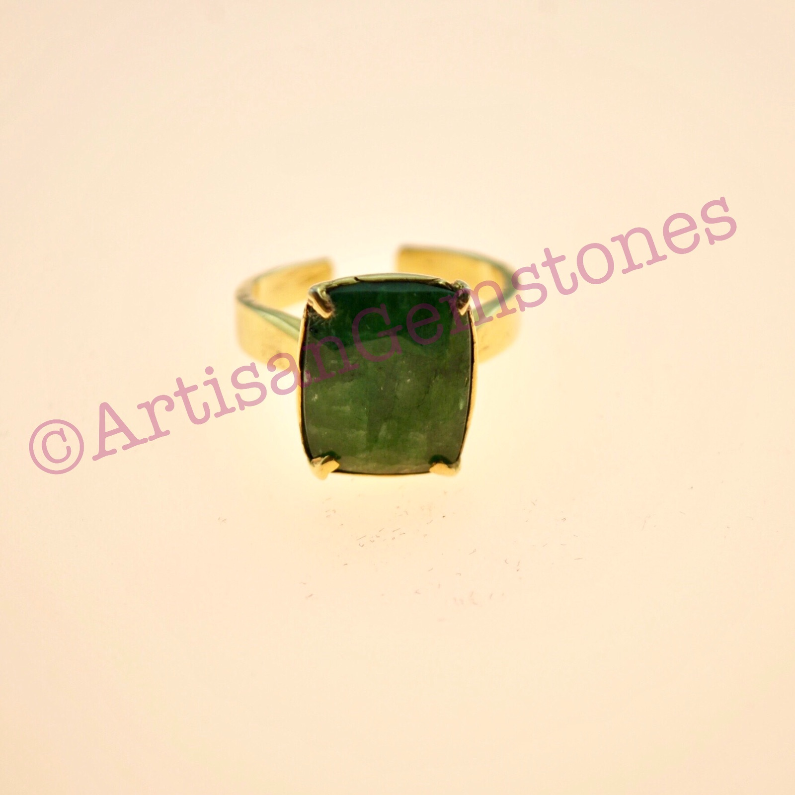 Rectangle 925 silver 22k Gold plated Burmese Emerald adjustable size ring