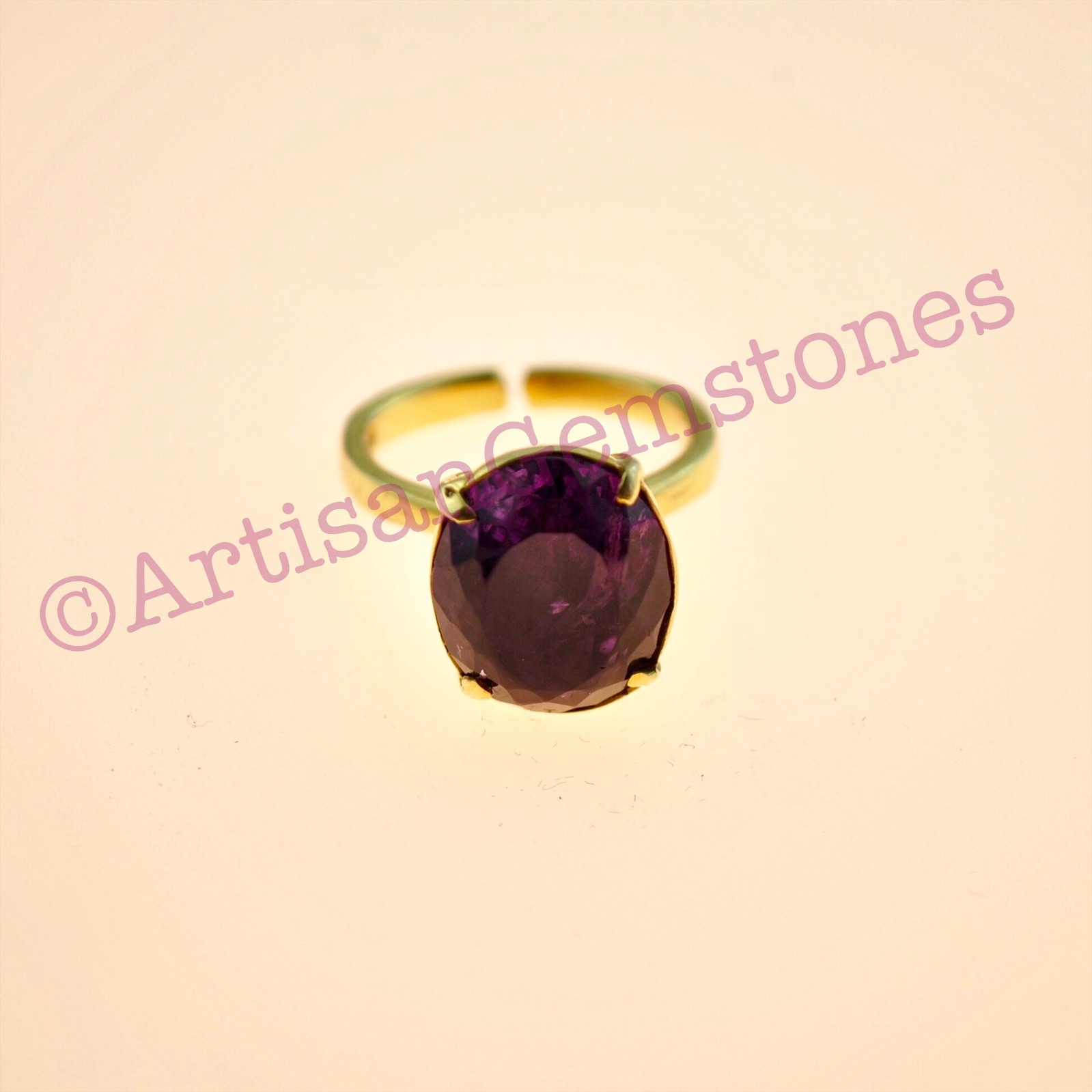 Oval, Amethyst 925 silver 22k Gold plated adjustable ring