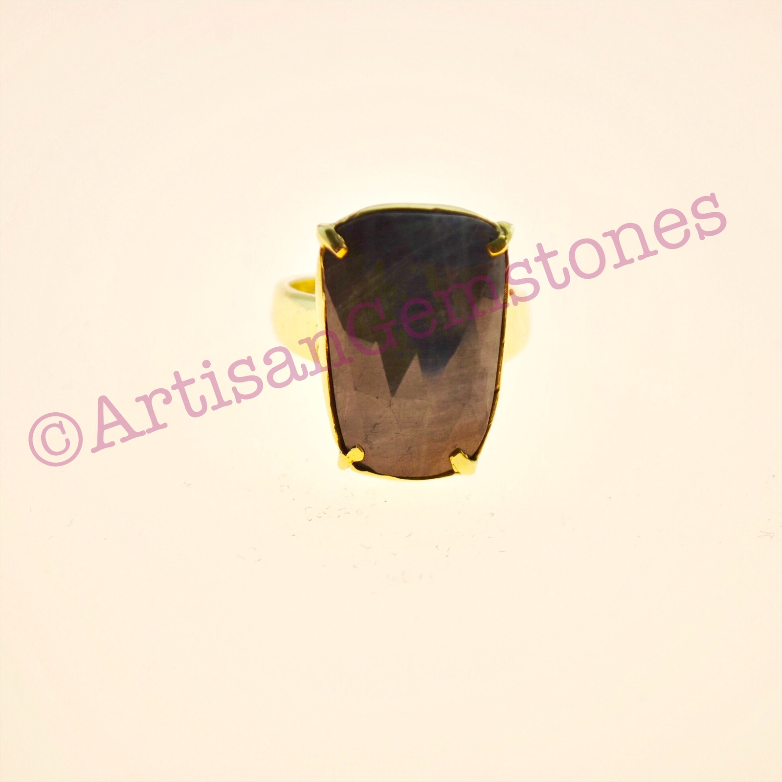 Rectangle Grey Sapphire ring in 925 silver 22k Gold Vermeil in adjustable size