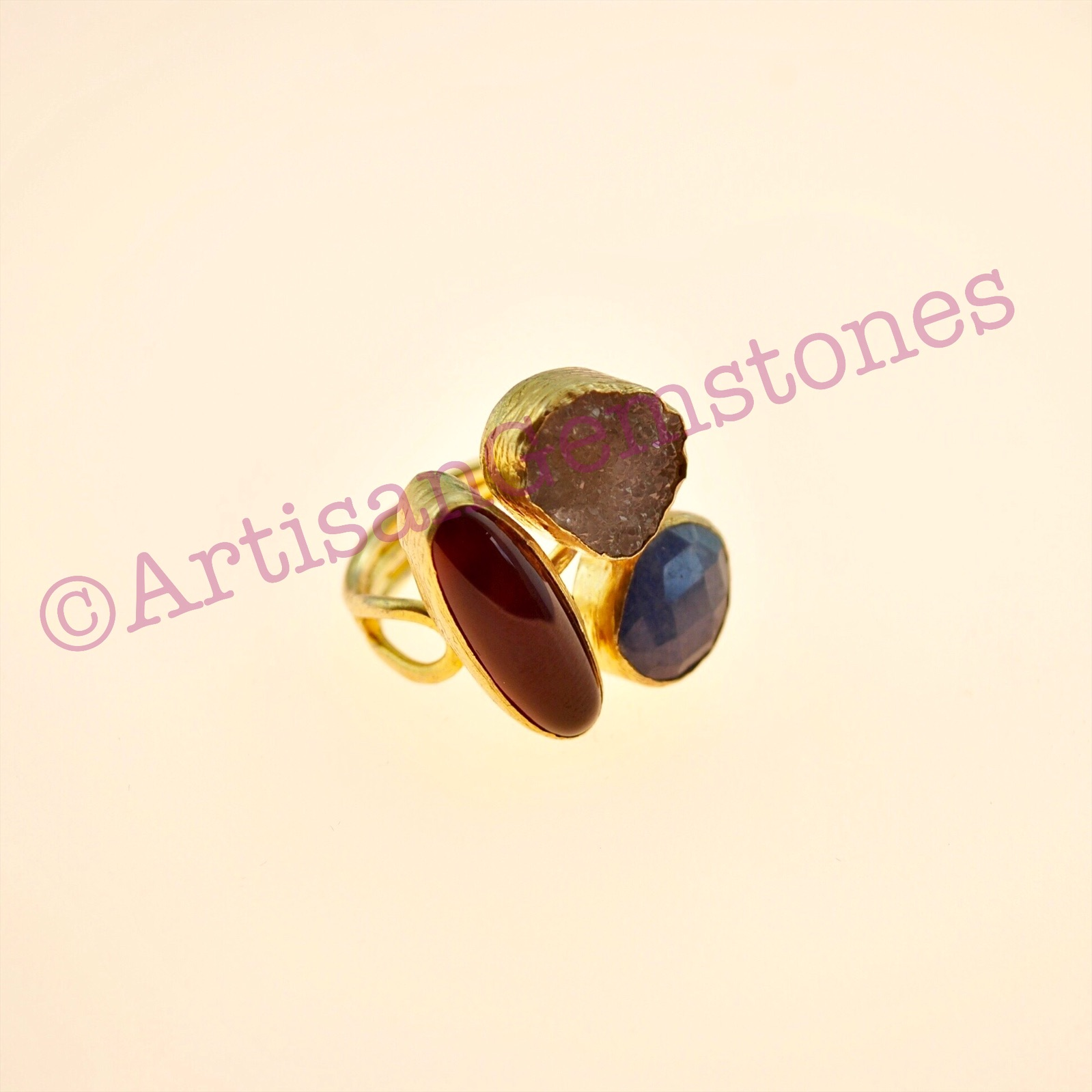 Triple stone ring in Natural Stone 22k Gold vermeil with adjustable size