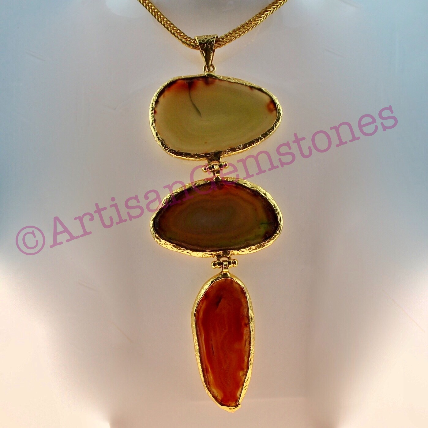 Gold Chain and Agate Necklace 22k Gold vermeil