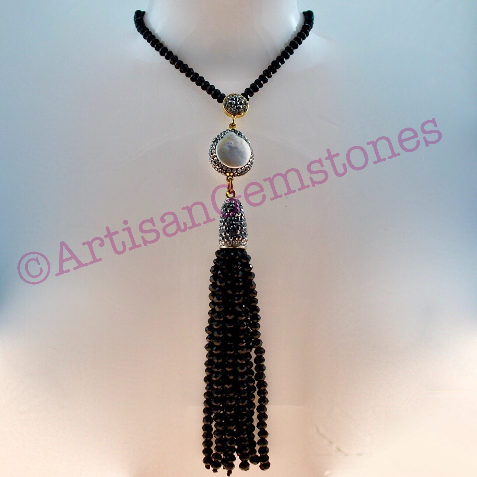 Mother of Pearl and Black Necklace