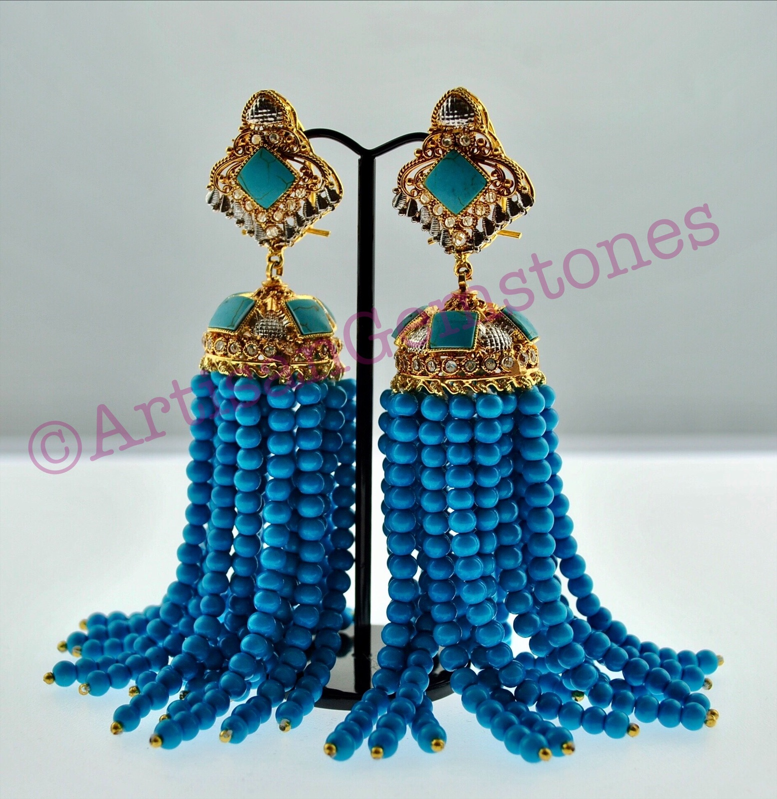 Feroza and Gold Extra Long Jhumkay