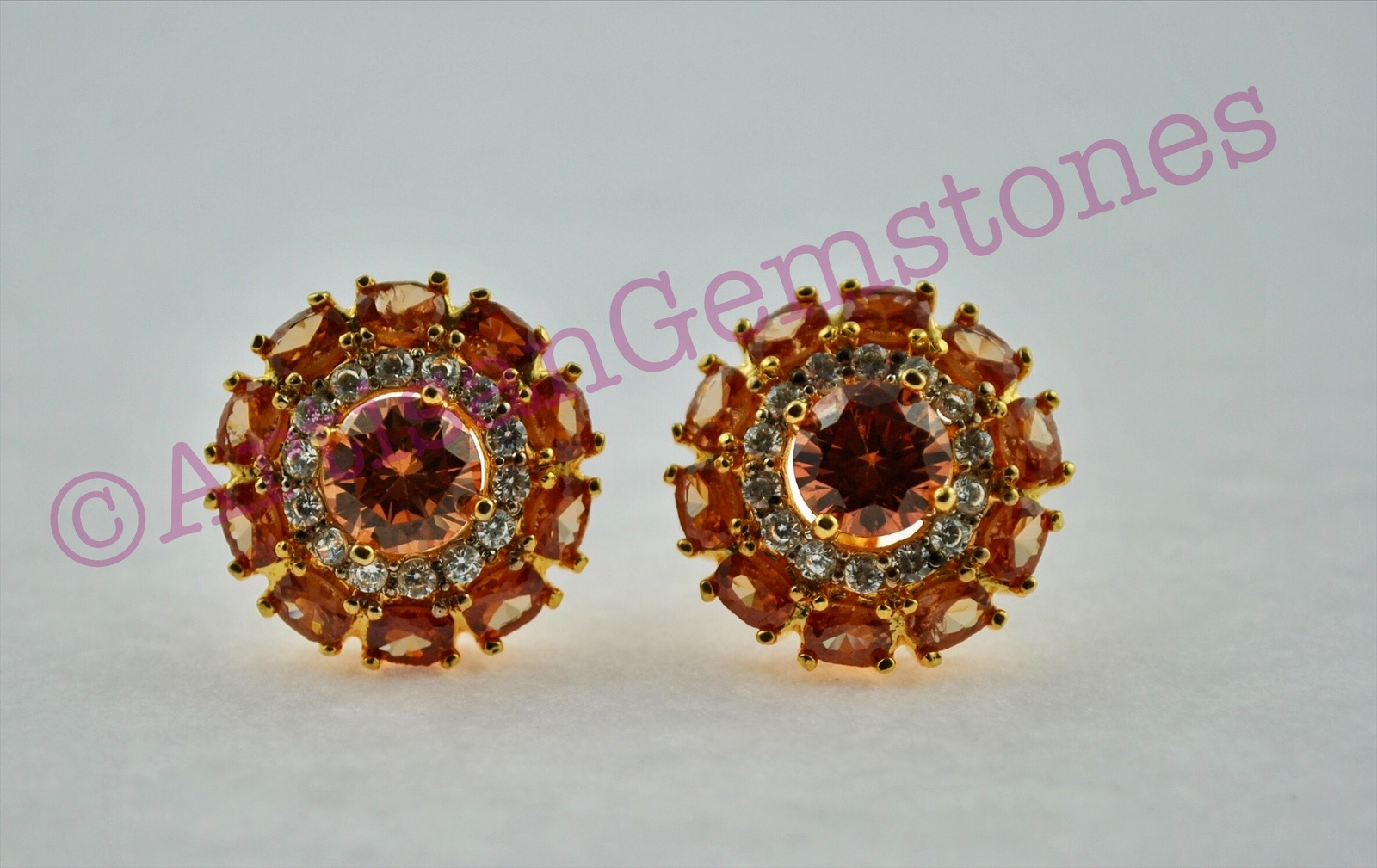 Topaz and Gold round Earrings