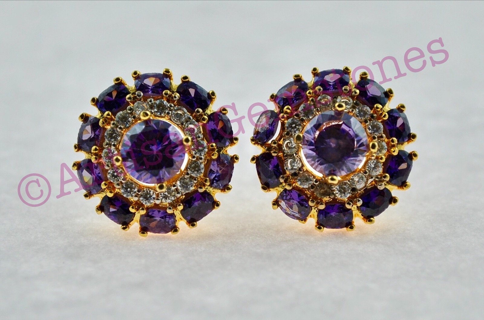 Amethyst and Gold round Earrings