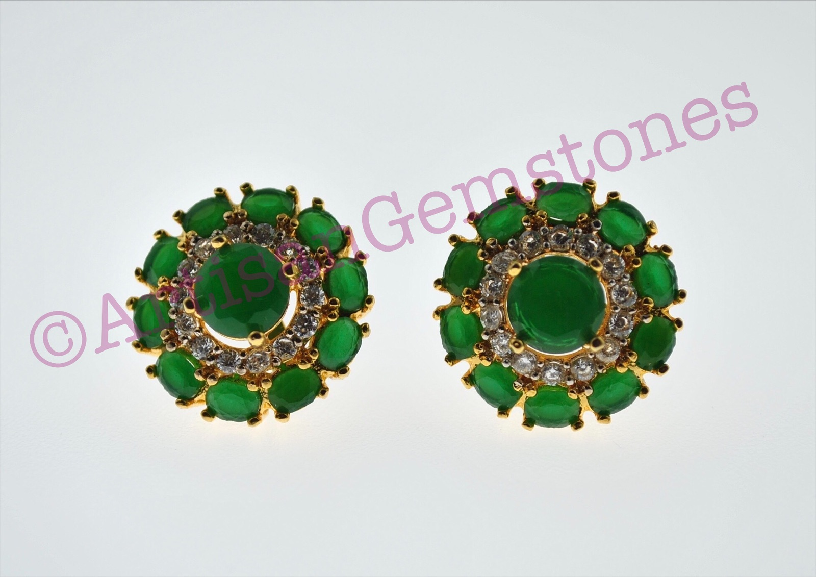 Green and Gold round Earrings