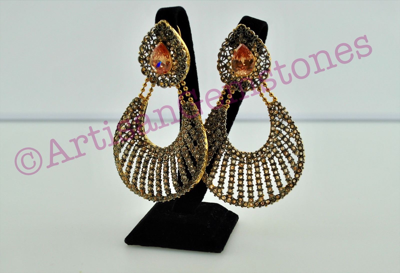 Polki and Topaz large size Earrings