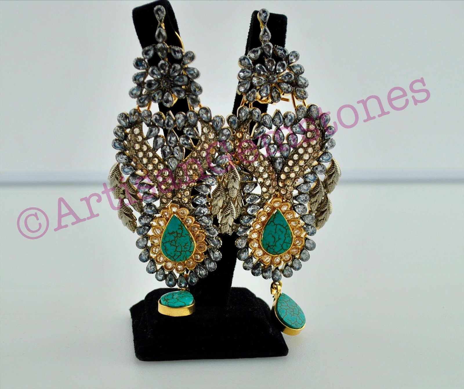 Kundan and Feroza Large size Earrings