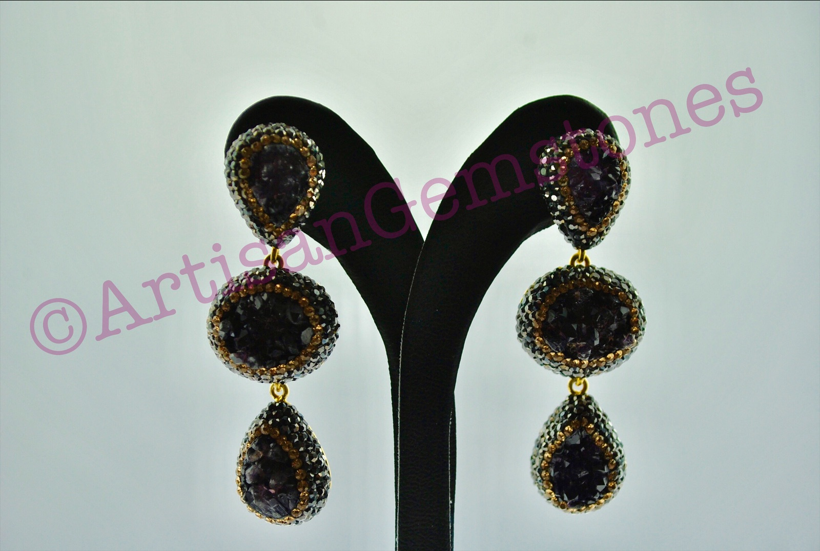 Deep Purple Druzy Earrings