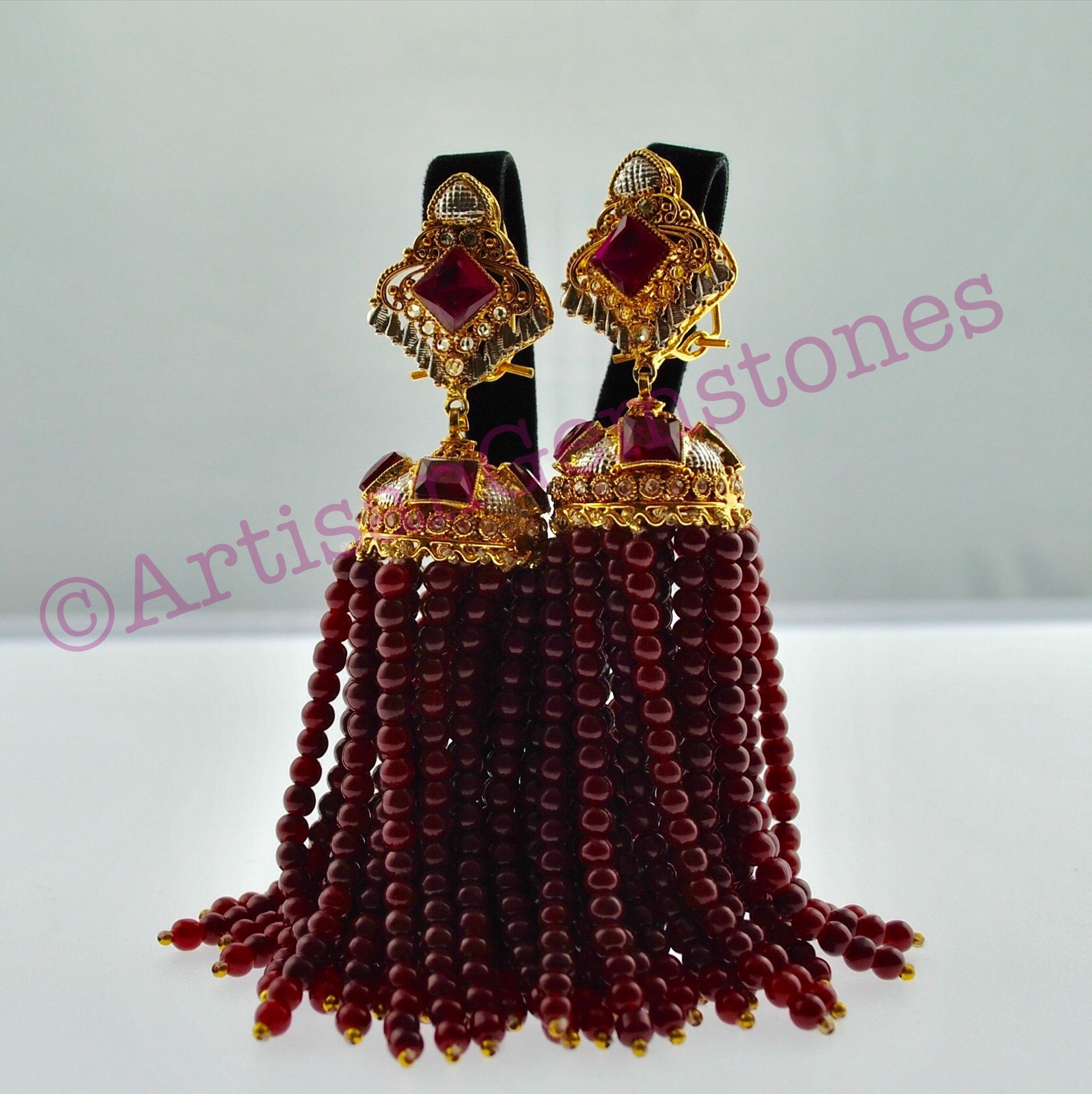 Dark Red and Gold Extra Long Jhumkay