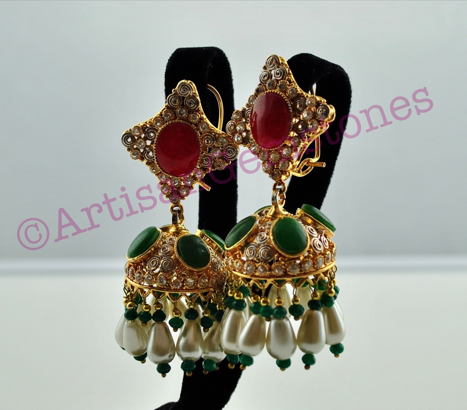 Red, Green and Pearl Jhumkay