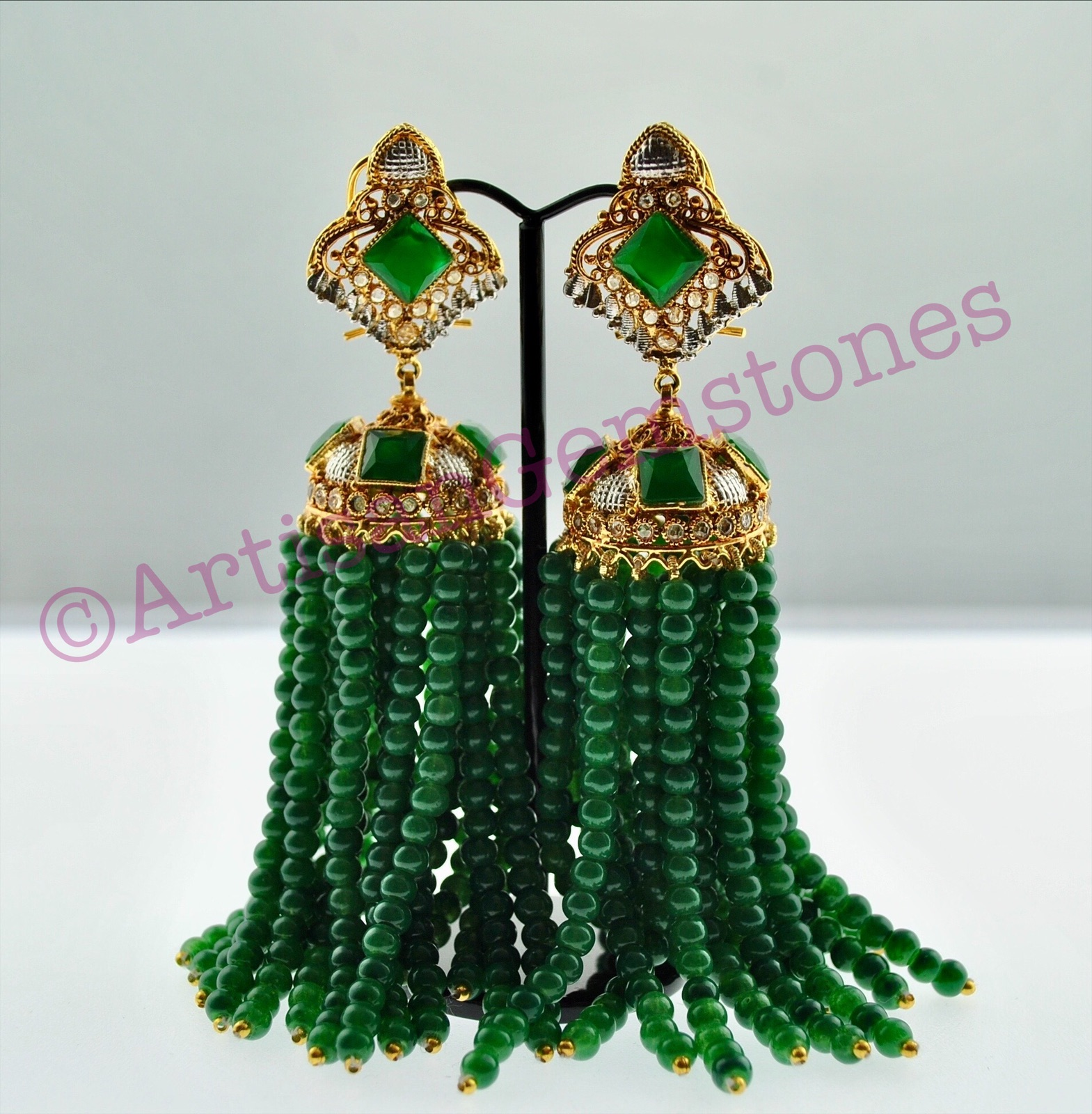 Green and Gold Extra Land Dangler Jhumkay