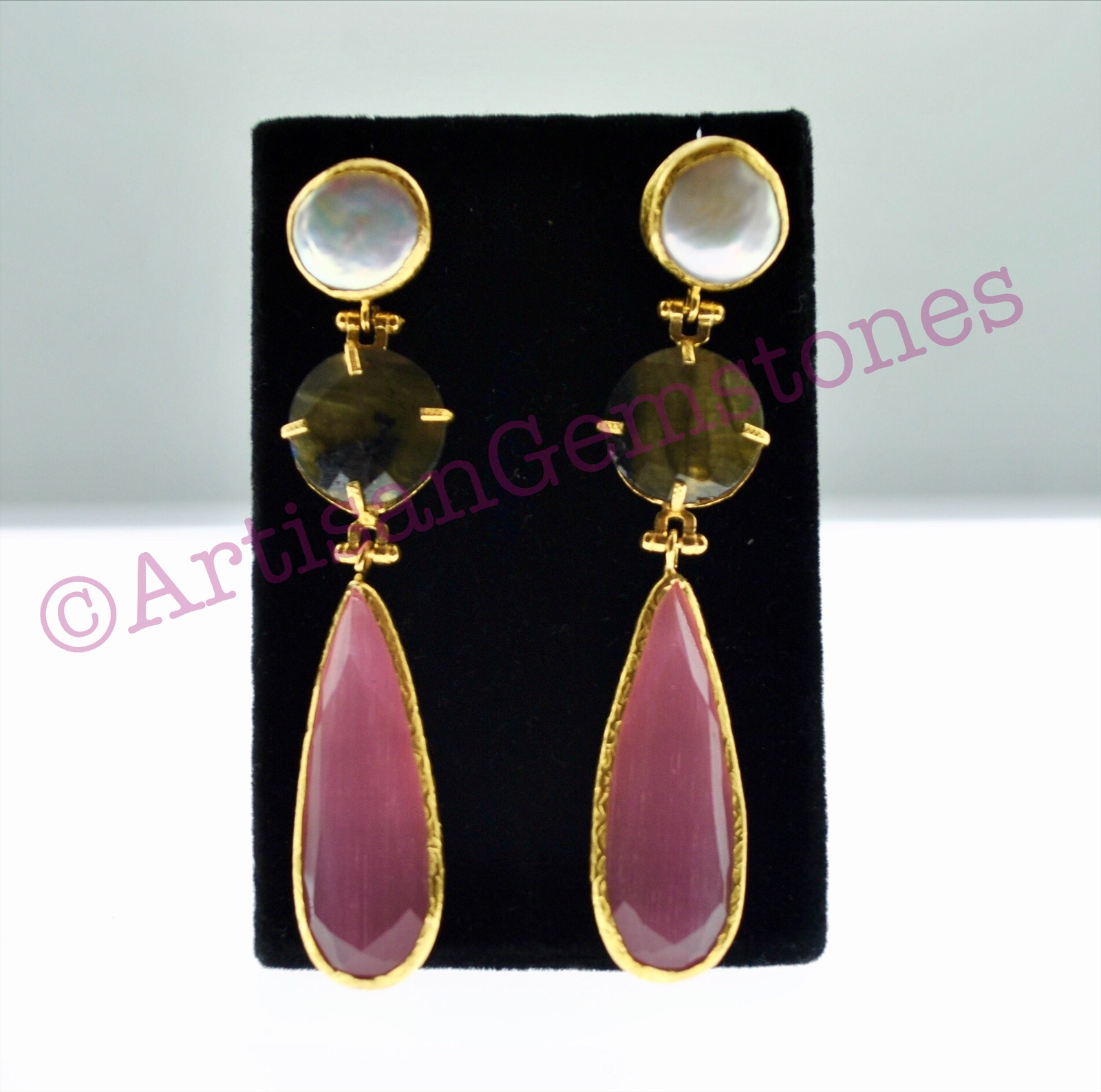 Pearl, Labradorite and Pink Earrings