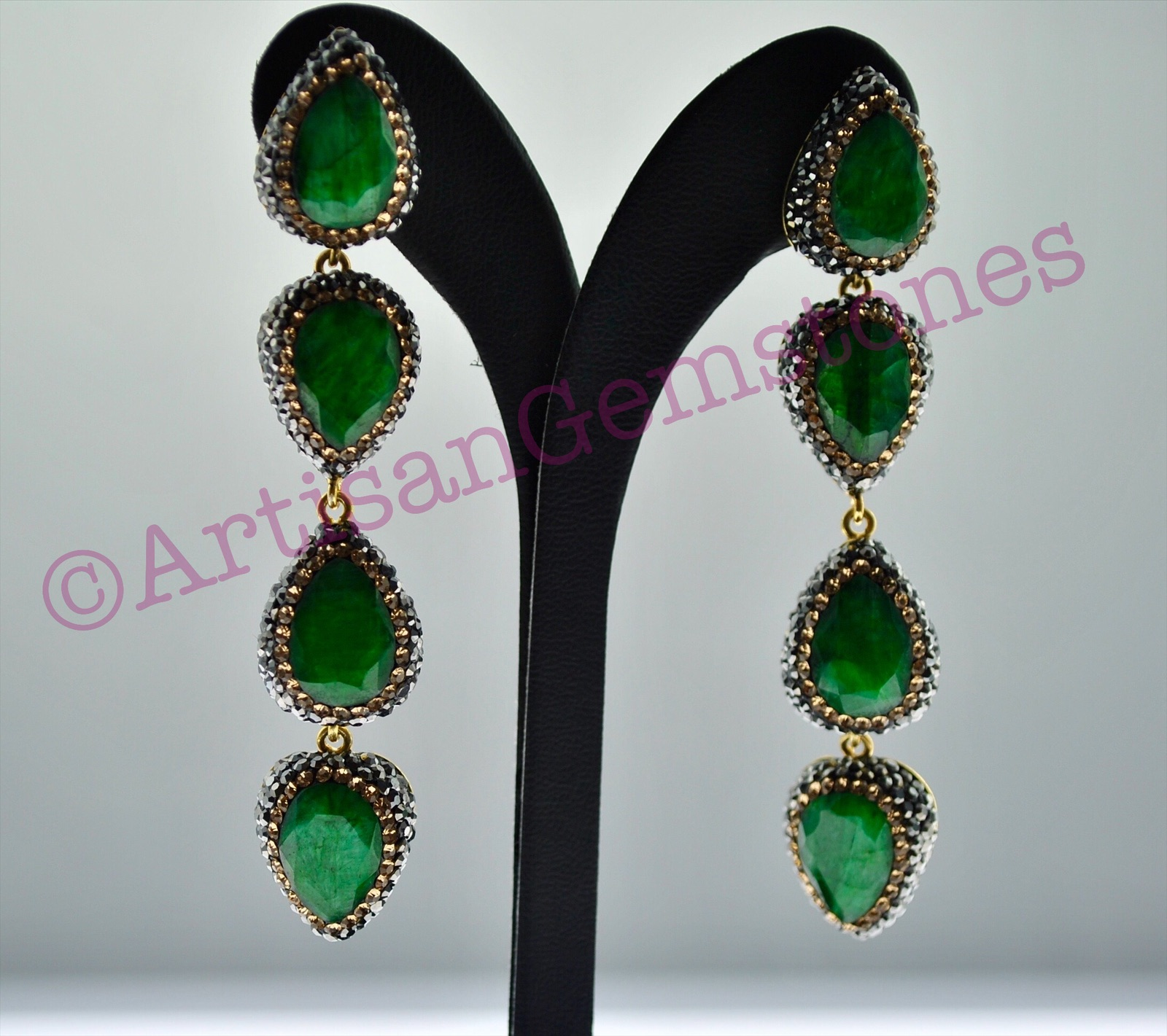 Green and Gold 4 tier Earrings