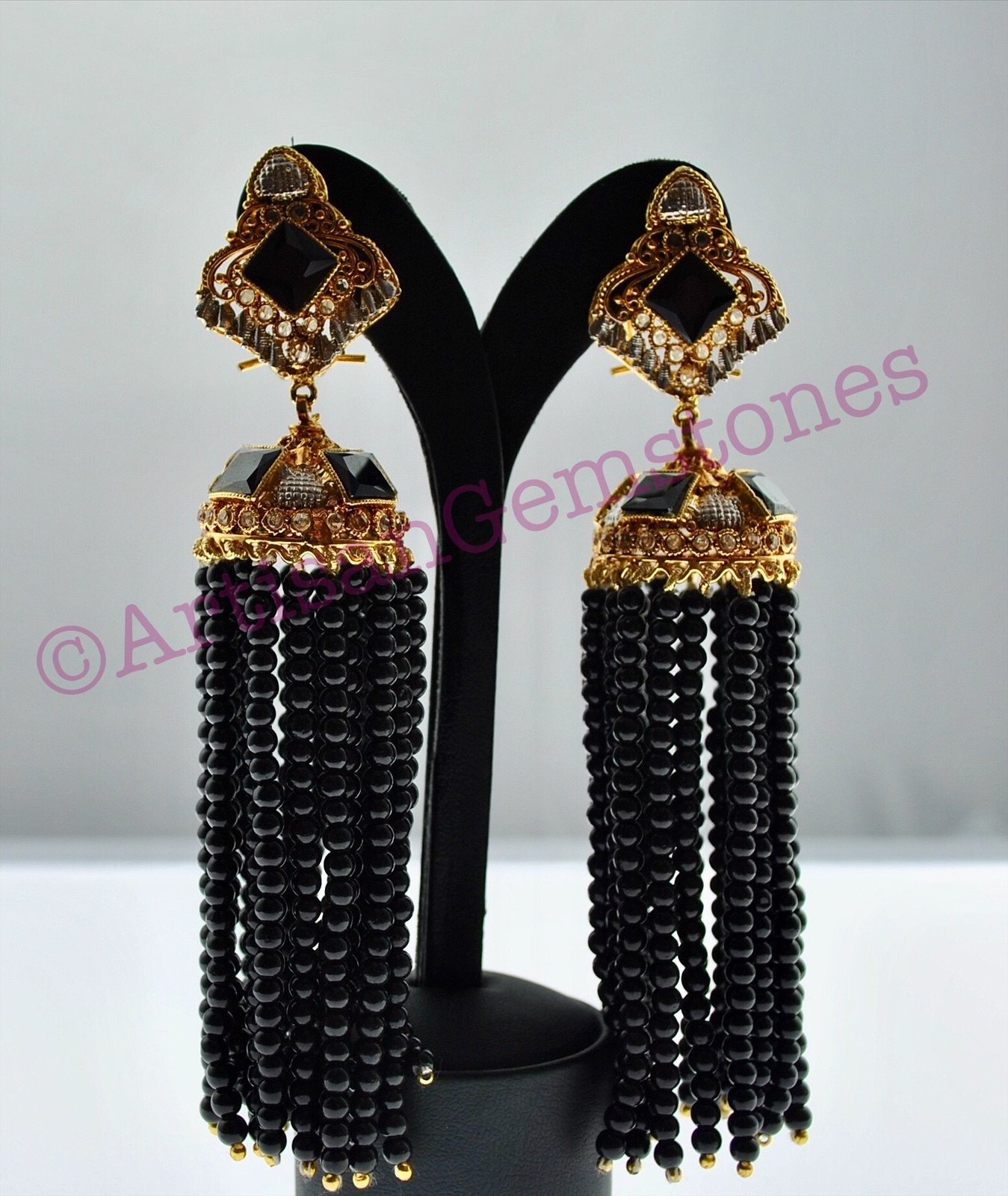 Black and Gold Extra Long Jhumkay