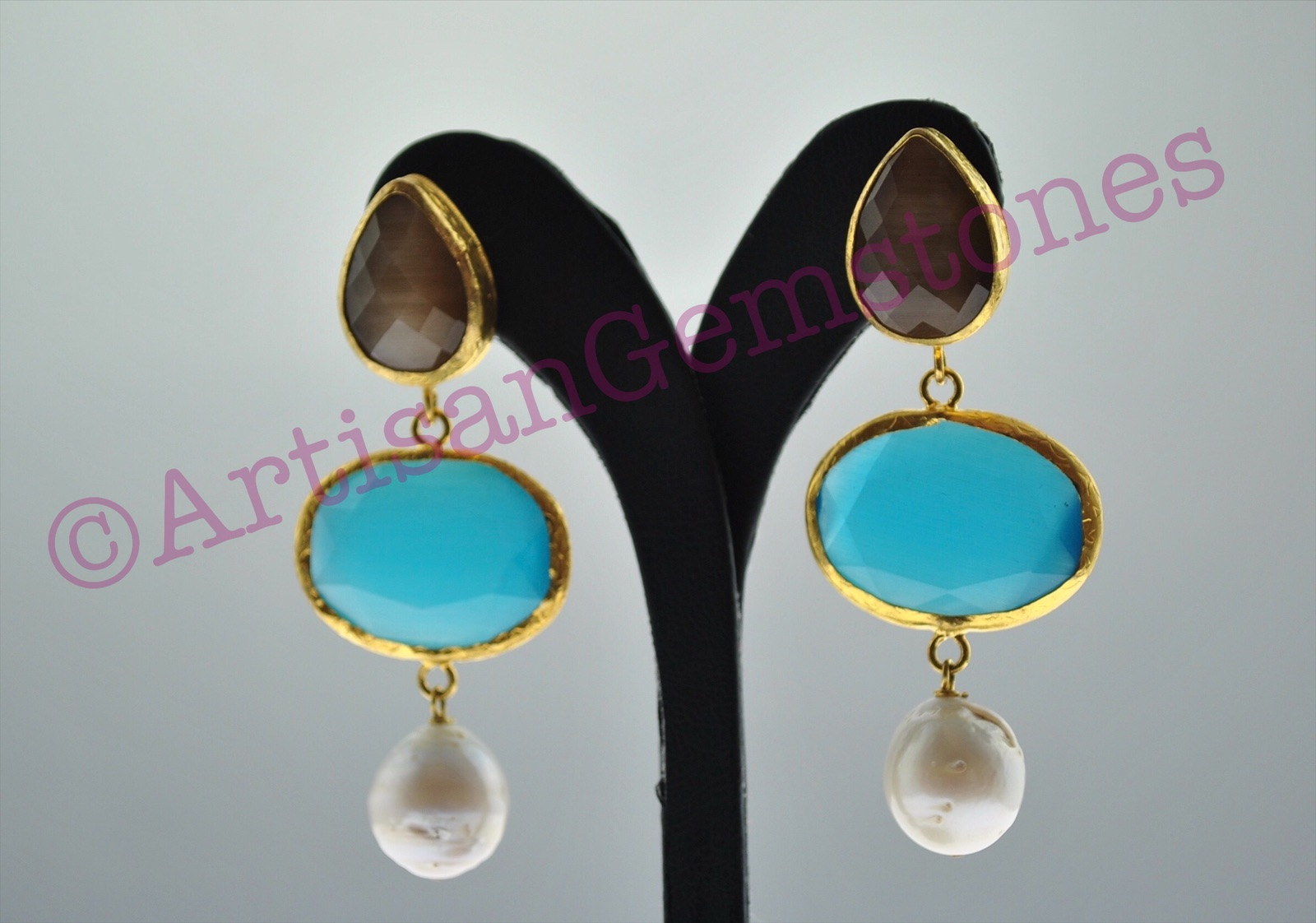Brown, Blue and Pearl Earrings