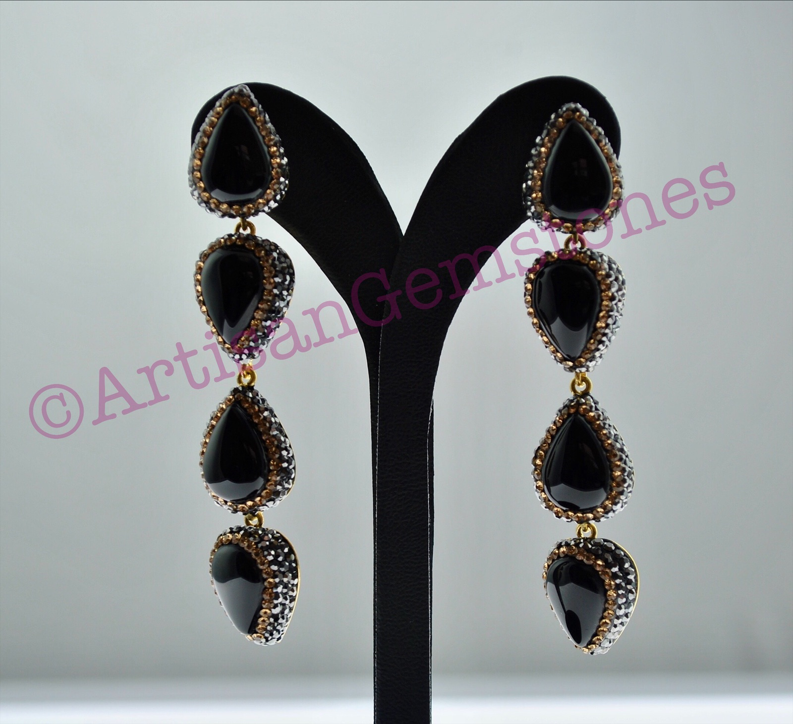 Black and Gold 4 tier Earrings