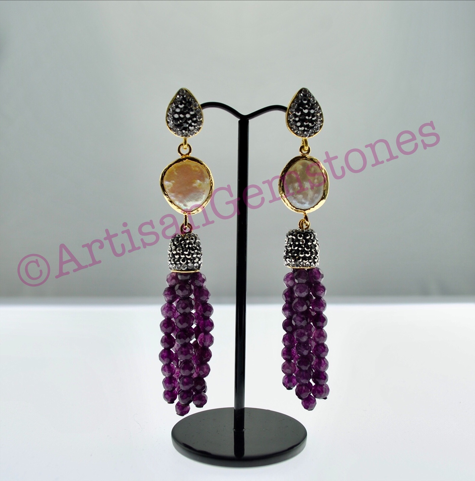 Pearl and Purple Earrings