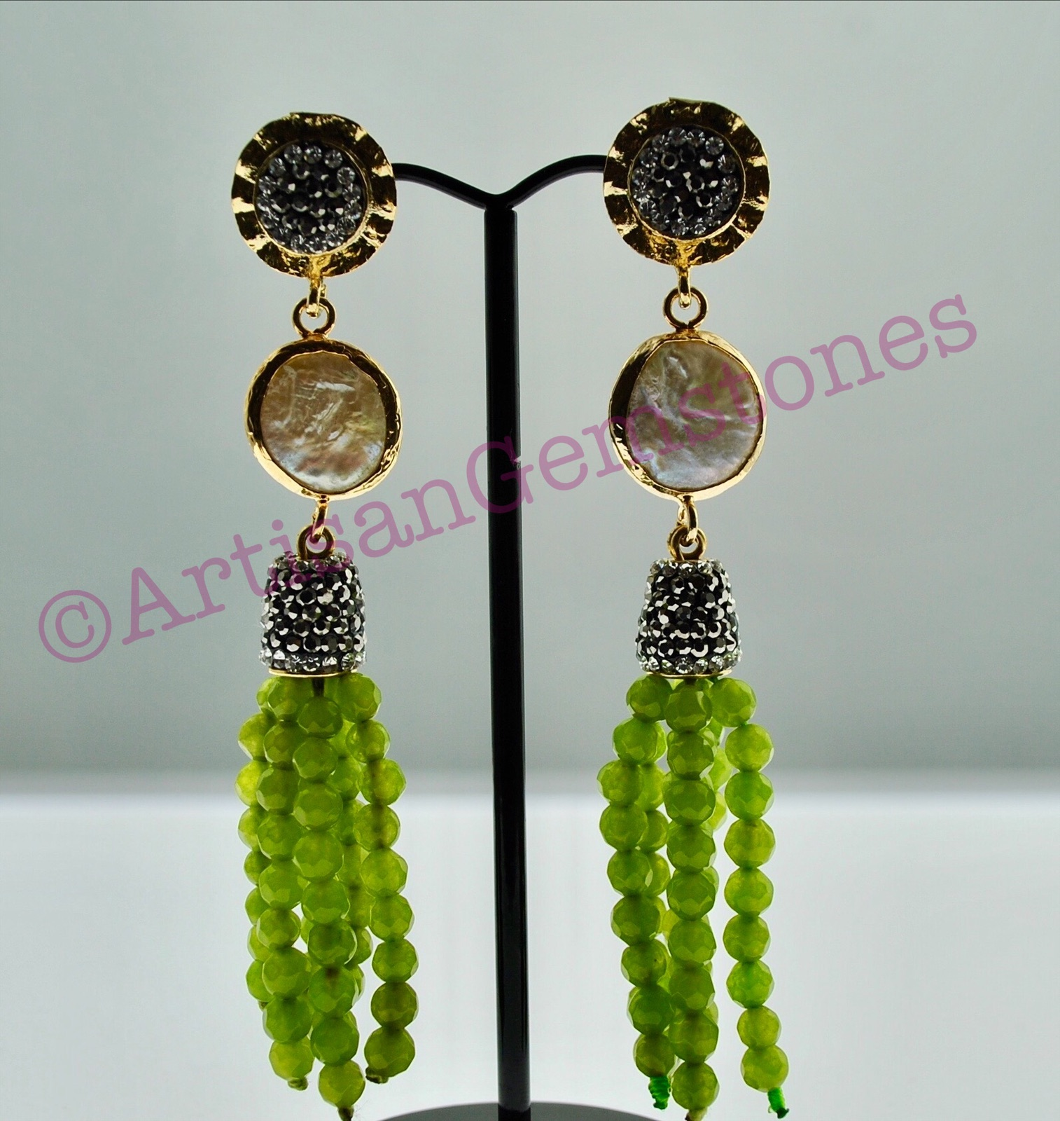 Pearl and Lime Green Danglers